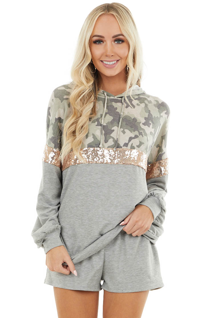 Heather Grey Camo and Sequin Contrast Hoodie with Shorts Set