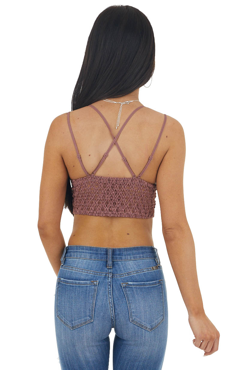Marsala Floral Lace Bralette with Criss Cross Straps