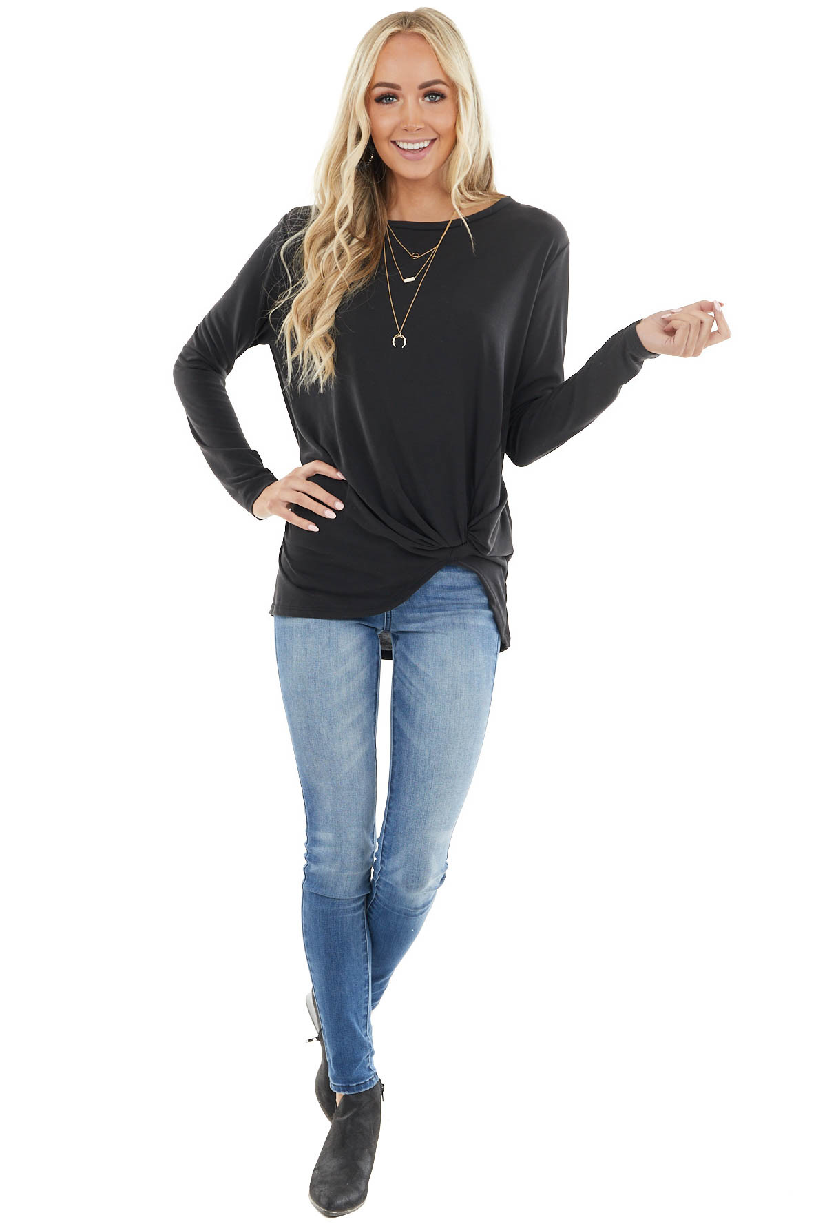 Black Long Sleeve Knit Top with Front Twisted Knot Detail