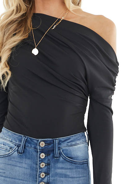 Black Off the Shoulder Bodysuit Long Sleeve with Ruching
