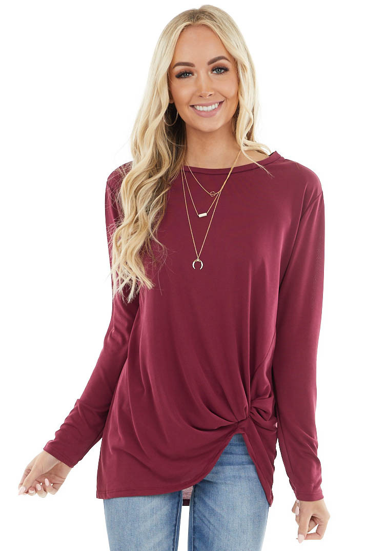 Wine Long Sleeve Knit Top with Front Twisted Knot Detail