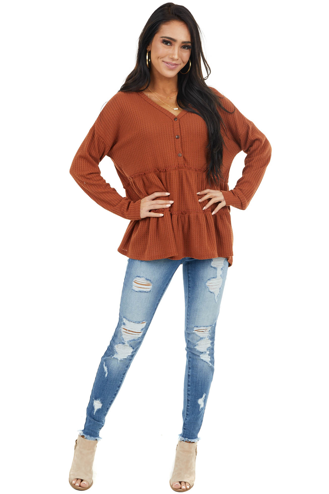Rust Waffle Knit Tiered Peplum Top with Henley V Neck