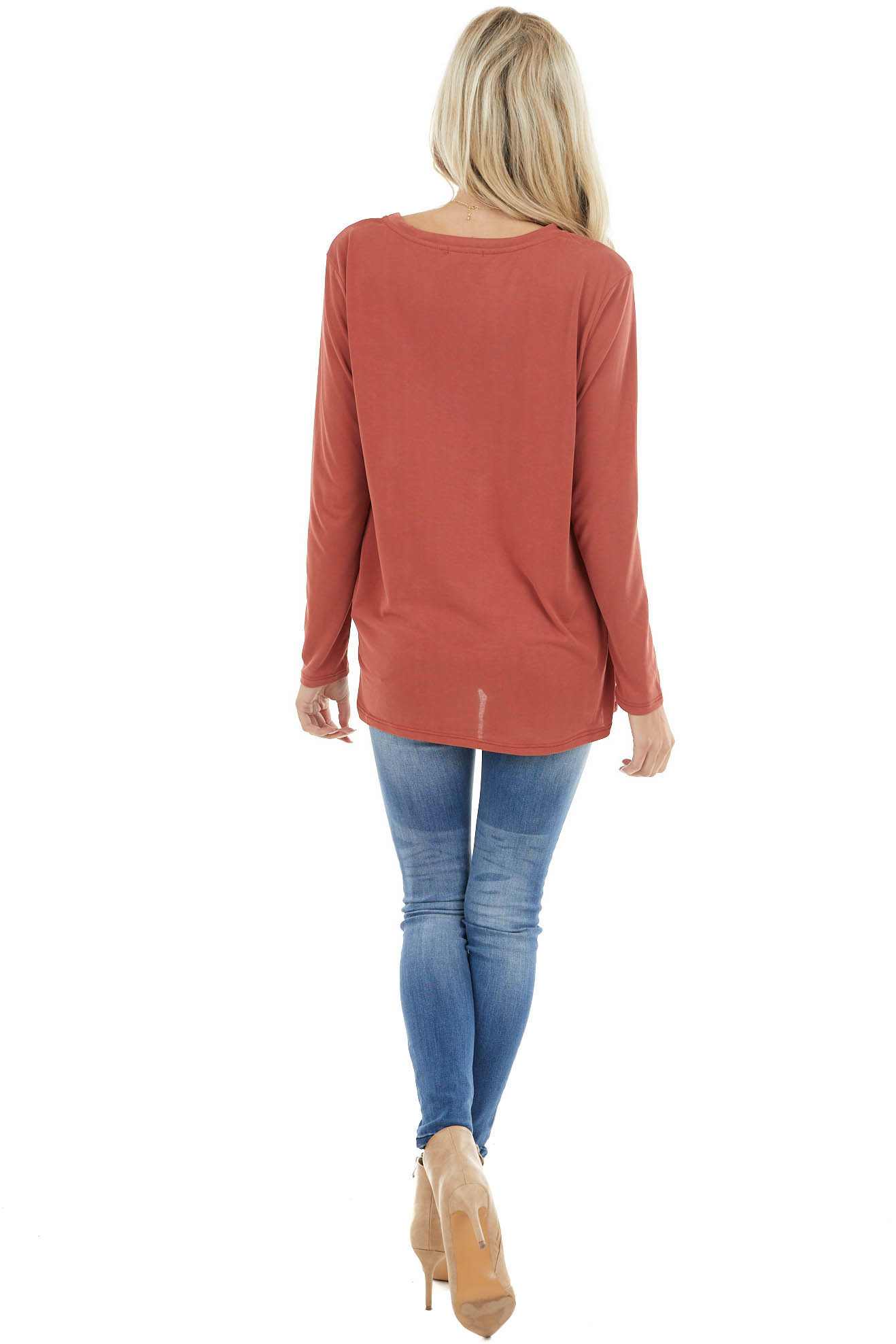 Terracotta Long Sleeve Top with Front Twisted Knot Detail