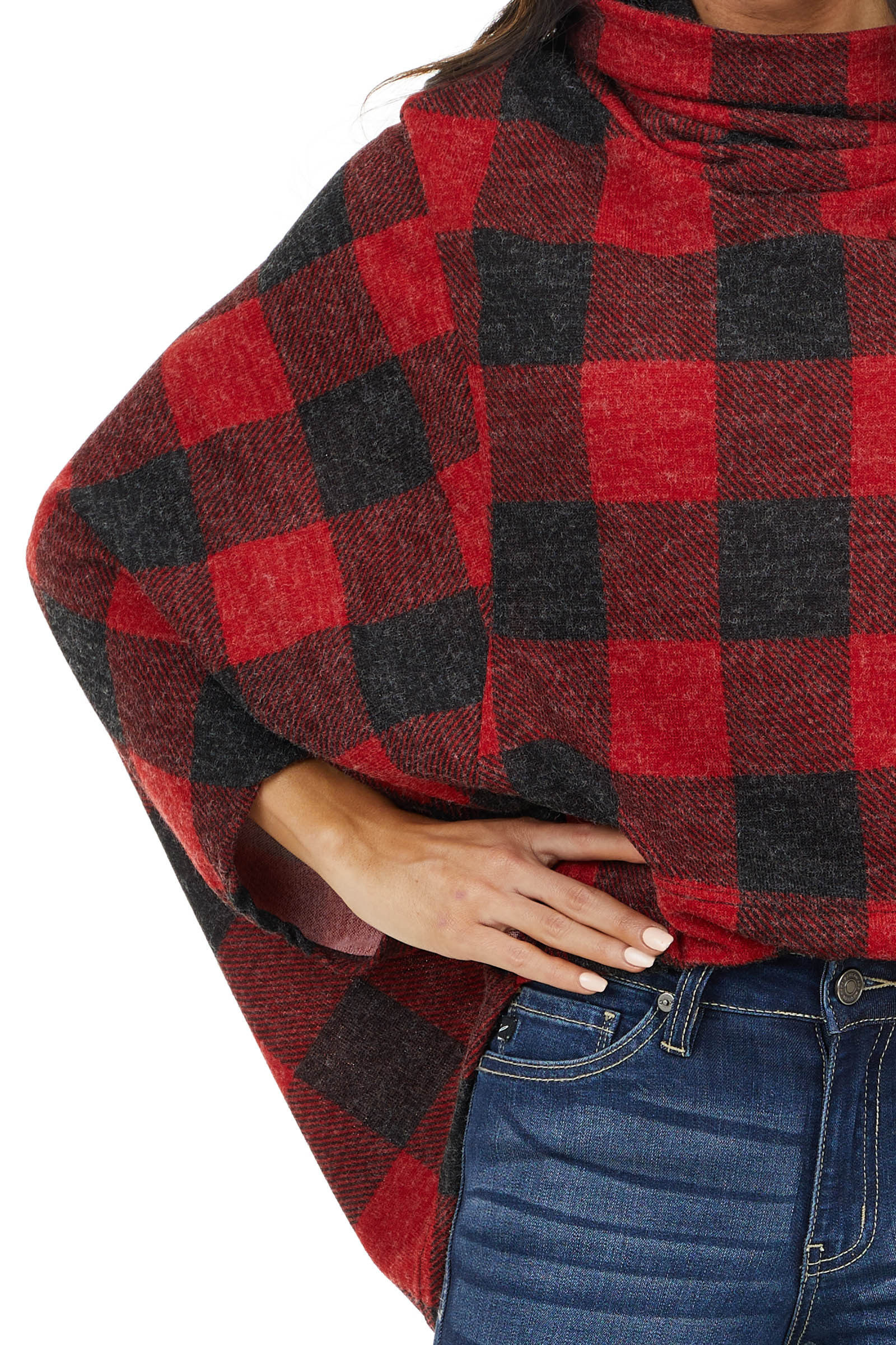 Cherry Red and Black Buffalo Plaid Knit Cowl Neck Poncho