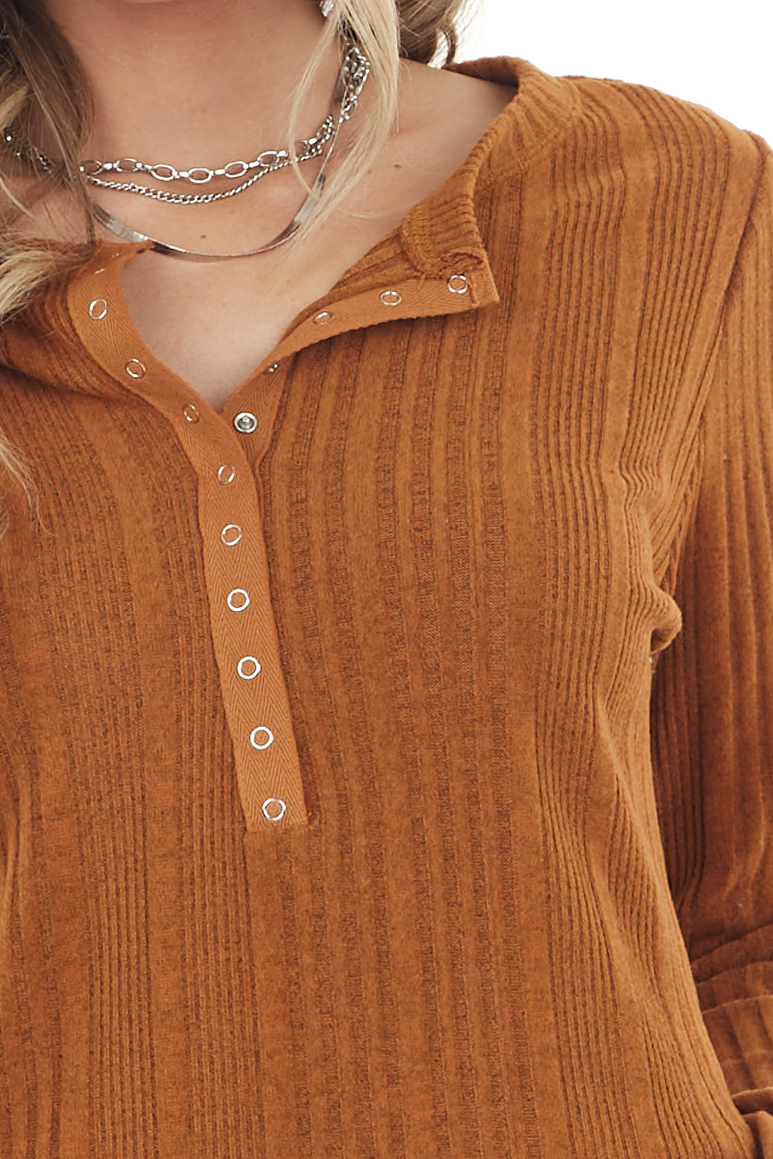 Pumpkin Spice Ribbed Textured Top with Snap Closure Buttons