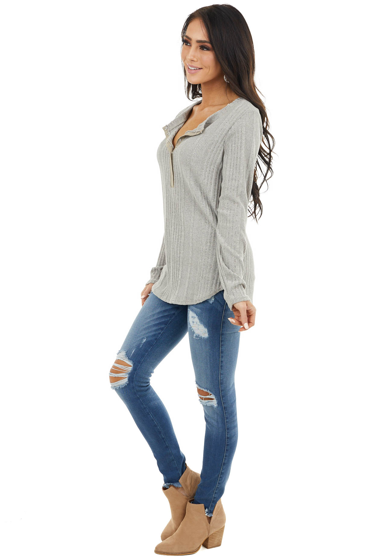 Heather Grey Ribbed Textured Top with Snap Closure Buttons