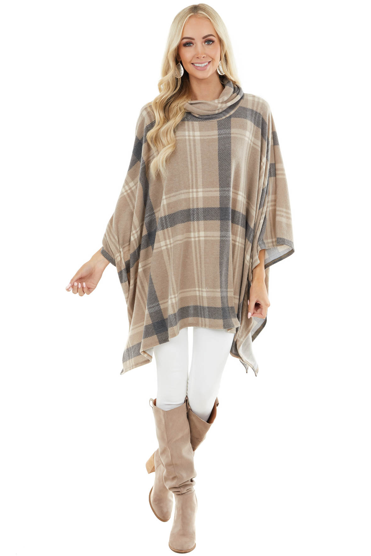 Taupe Brushed Plaid Cowl Neck Poncho