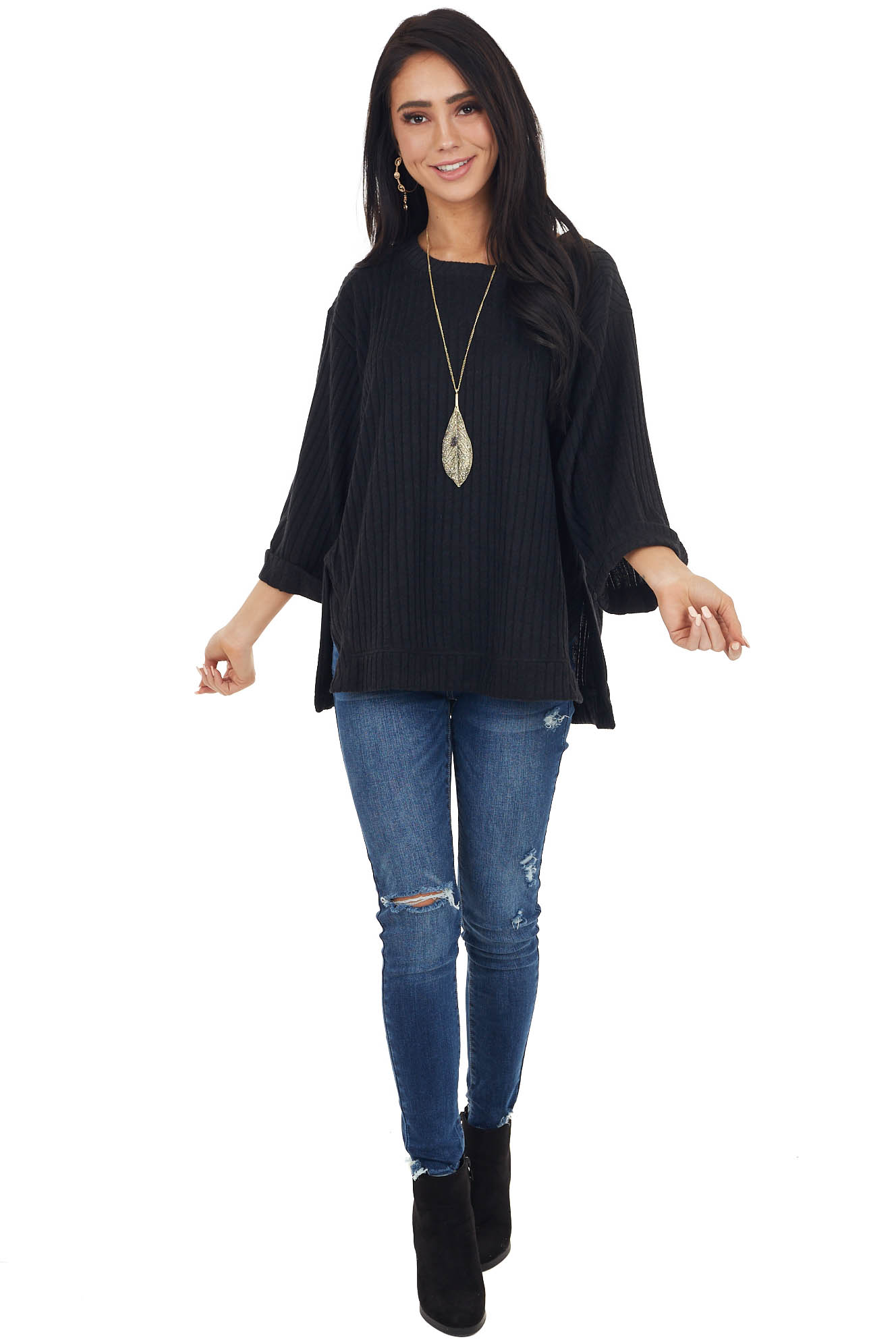 Black Ribbed Loose Knit Top with Wide Sleeves