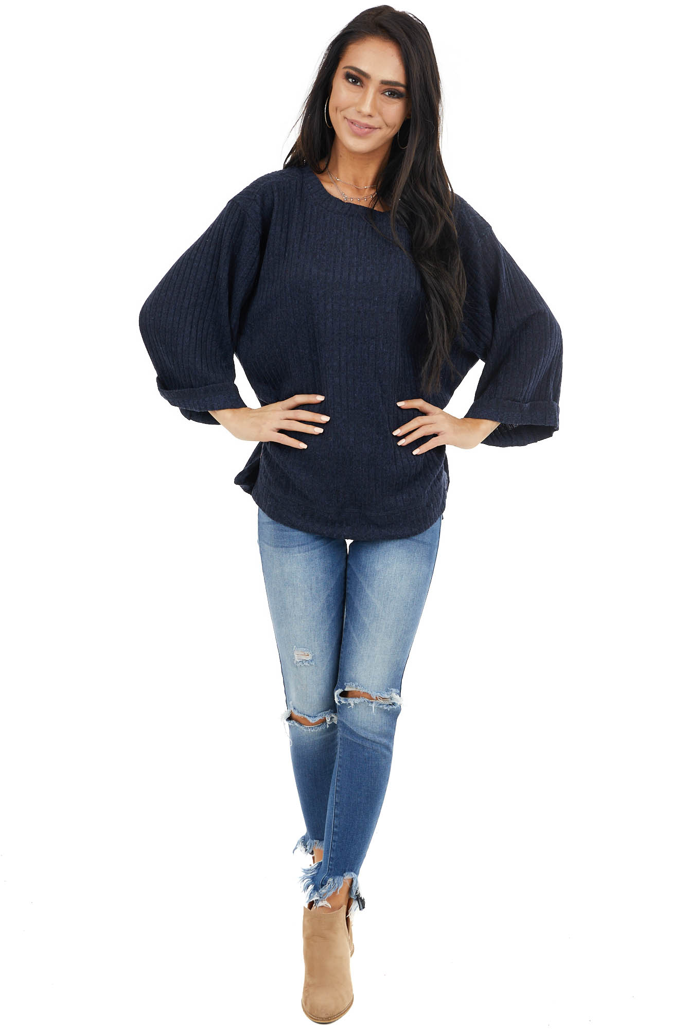 Navy Blue Ribbed Loose Top with Wide Sleeves