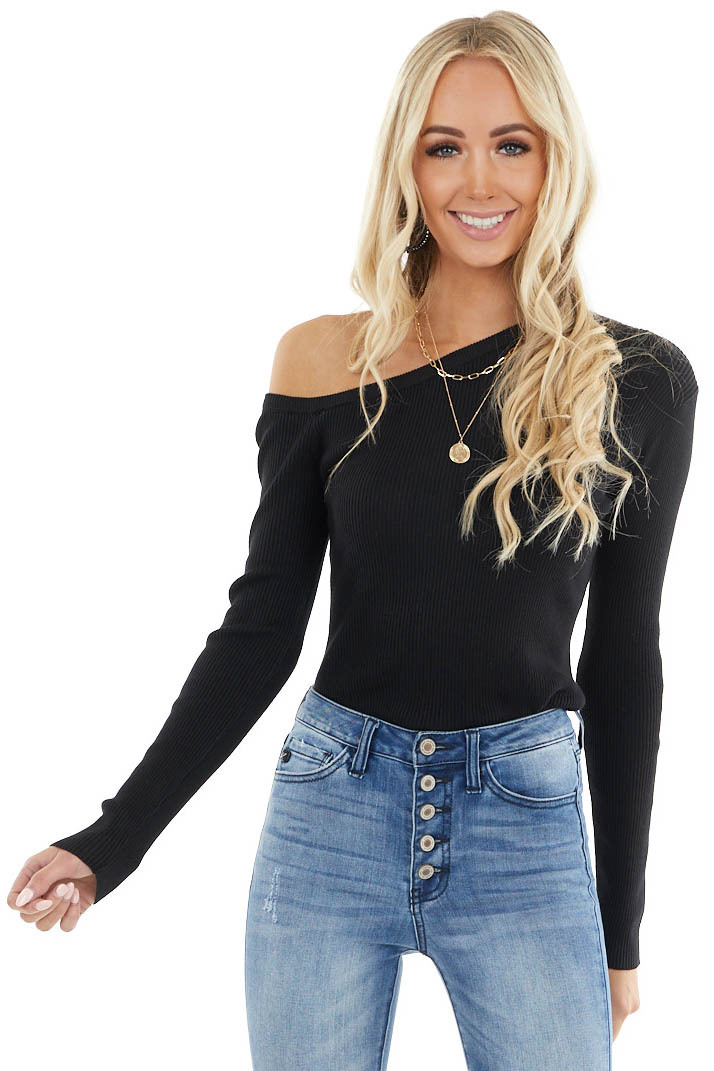 Black Ribbed Knit Fitted Off Shoulder Long Sleeve Top