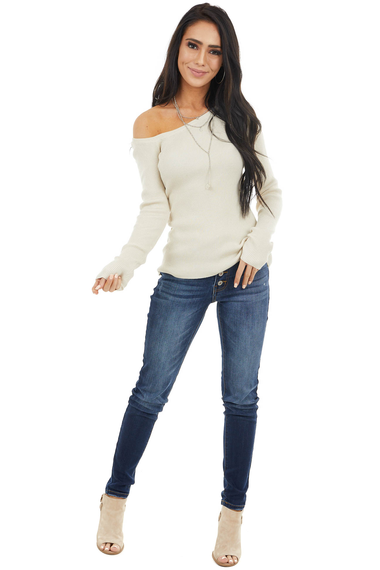Beige Ribbed Knit Fitted Off Shoulder Long Sleeve Top