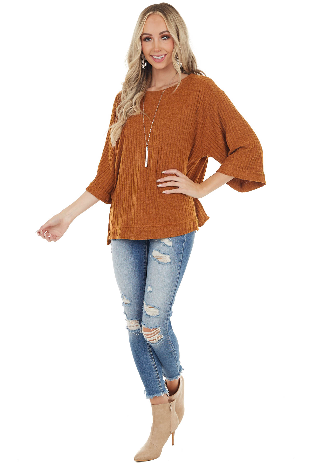 Tawny Orange Ribbed Loose Top with Wide Sleeves