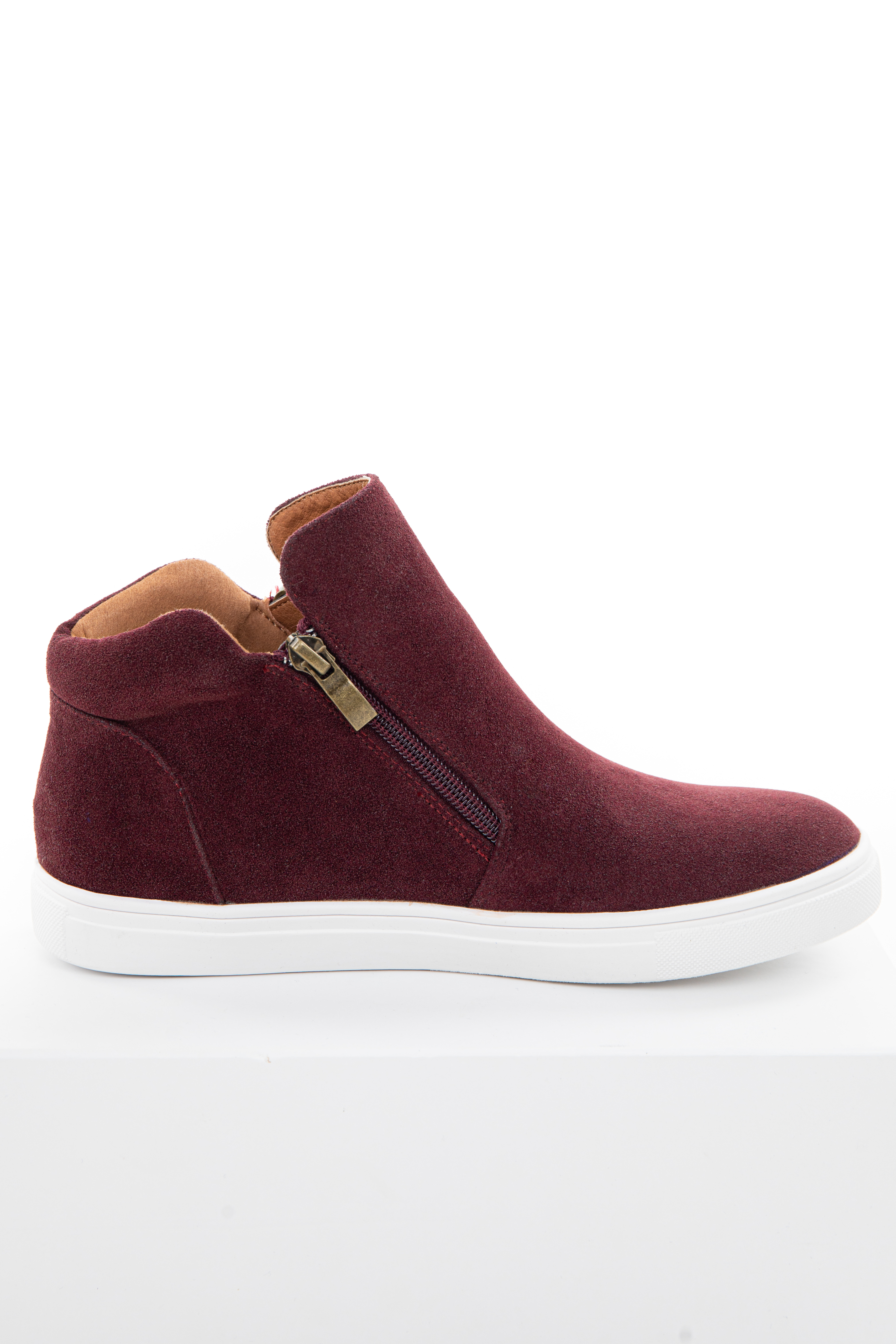 Burgundy Faux Suede Sneaker with Zip Up Detail