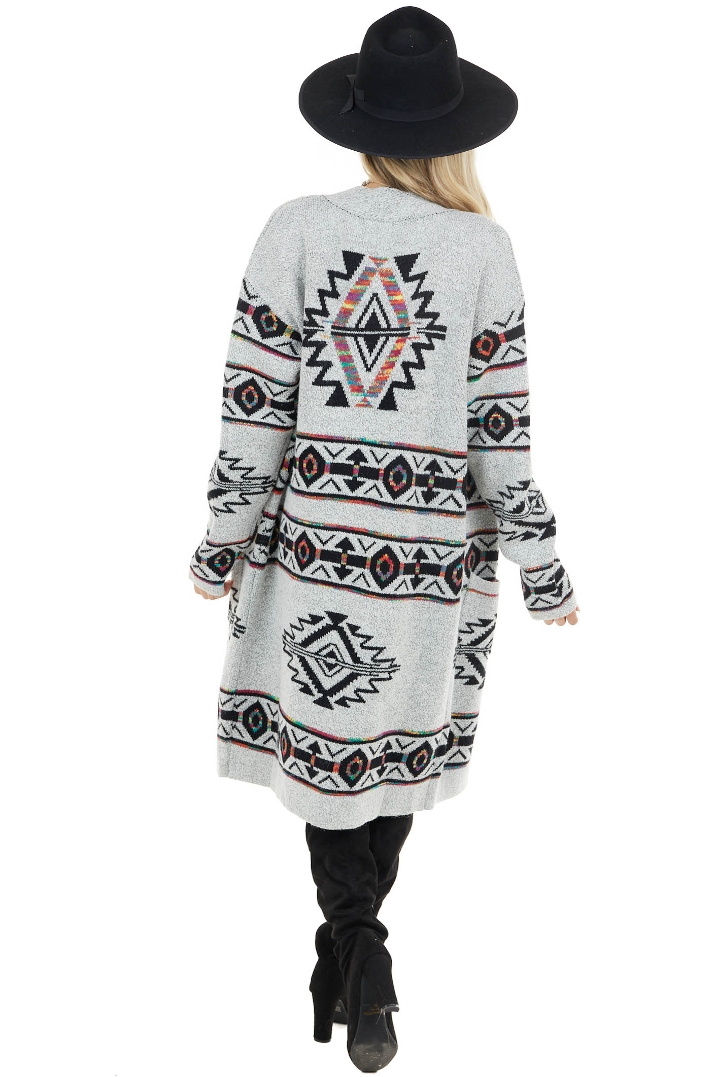 Heather Grey Aztec Open Front Cardigan with Pockets