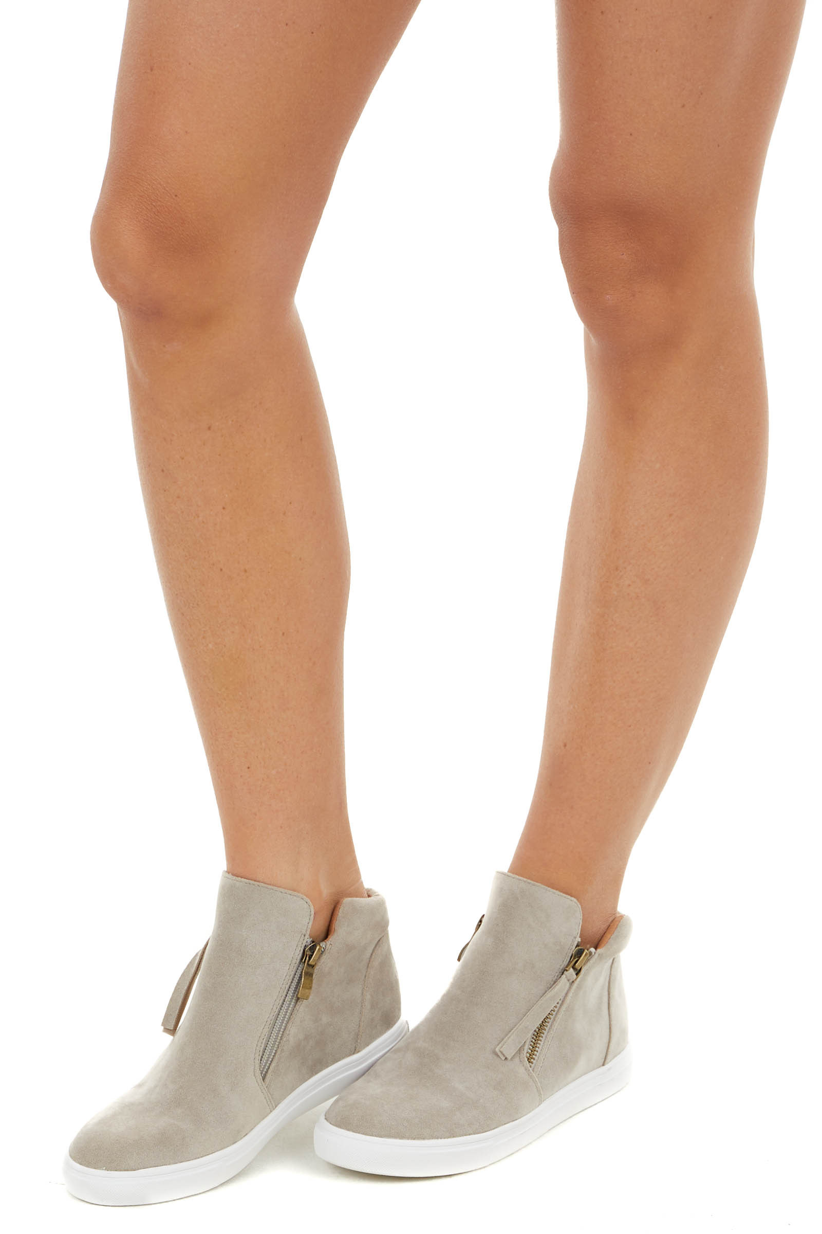 Dove Grey Faux Suede Sneaker with Zip Up Detail