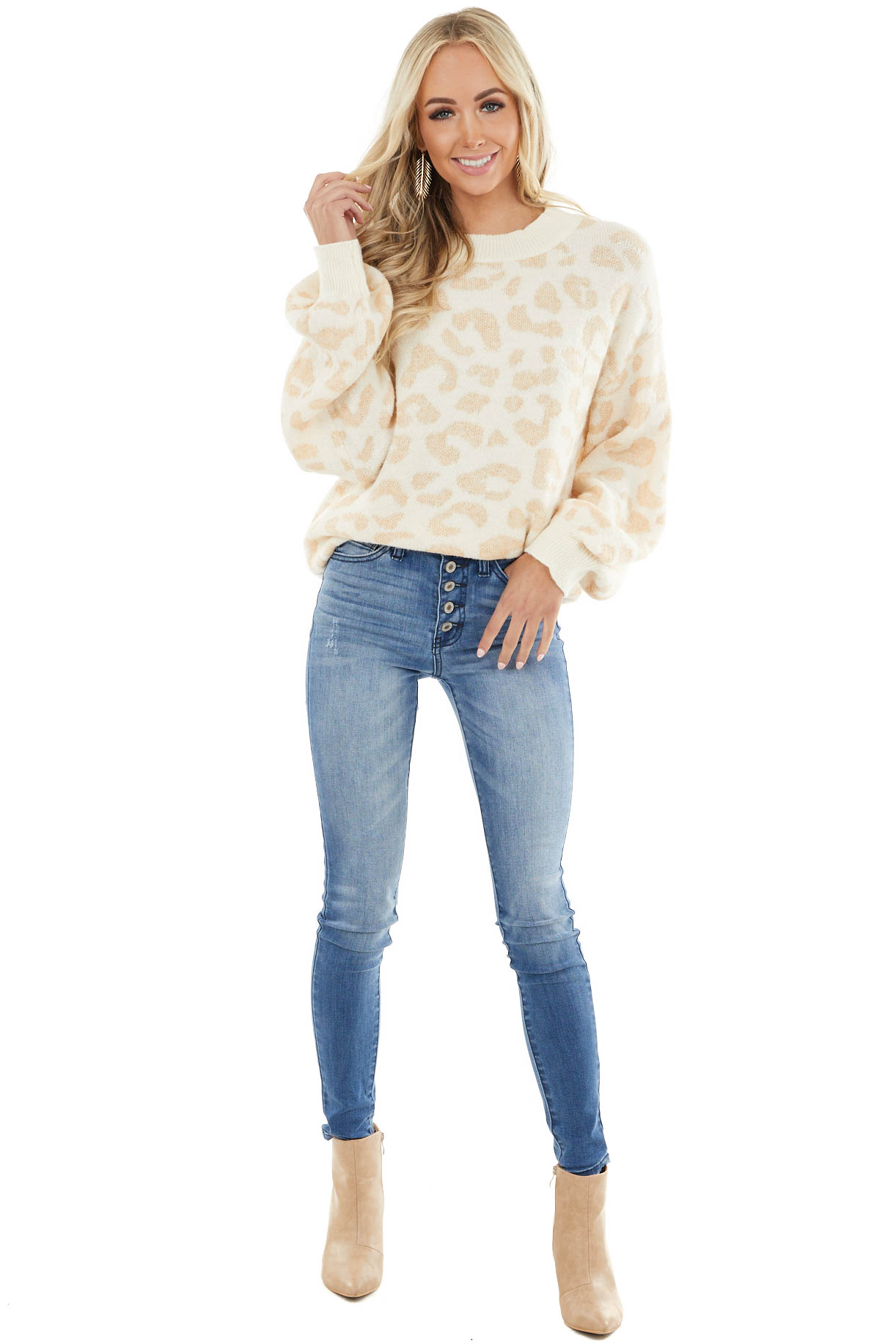 Cream and Beige Leopard Print Sweater with Bubble Sleeves