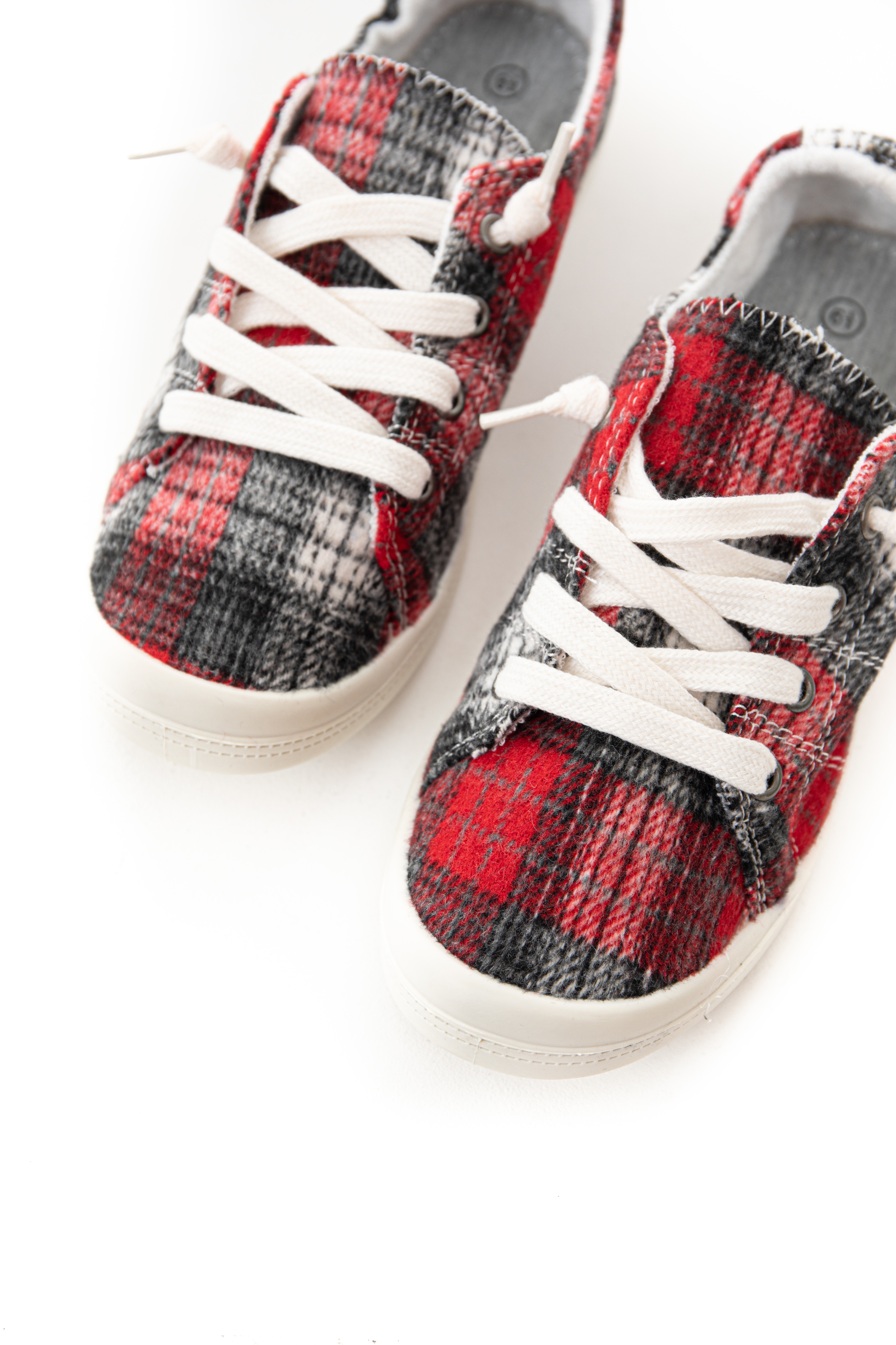 Red and Charcoal Plaid Sneakers with Shoelace Details