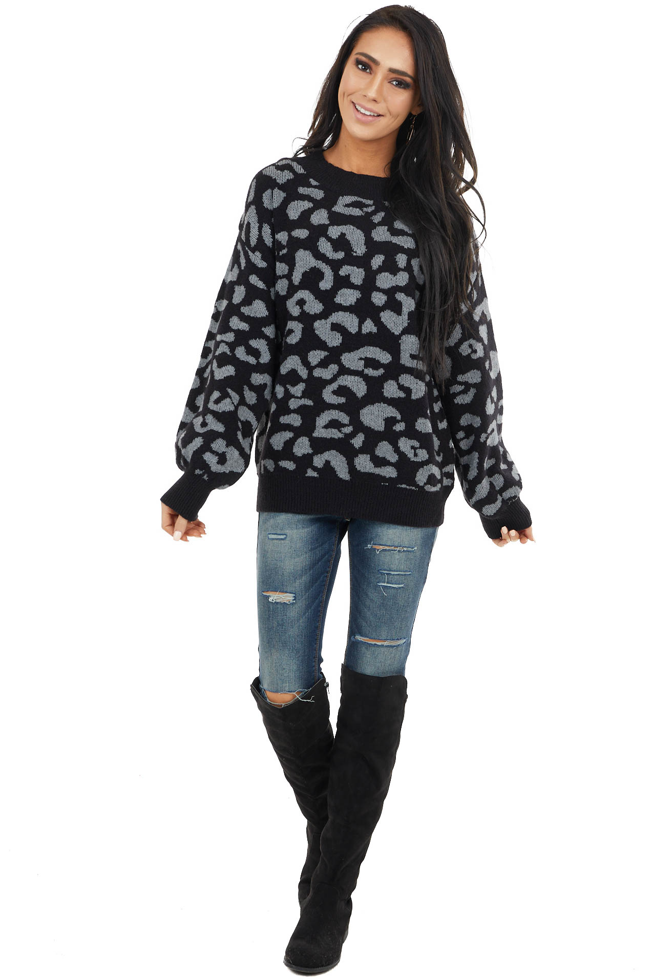 Black and Charcoal Leopard Print Sweater with Bubble Sleeves