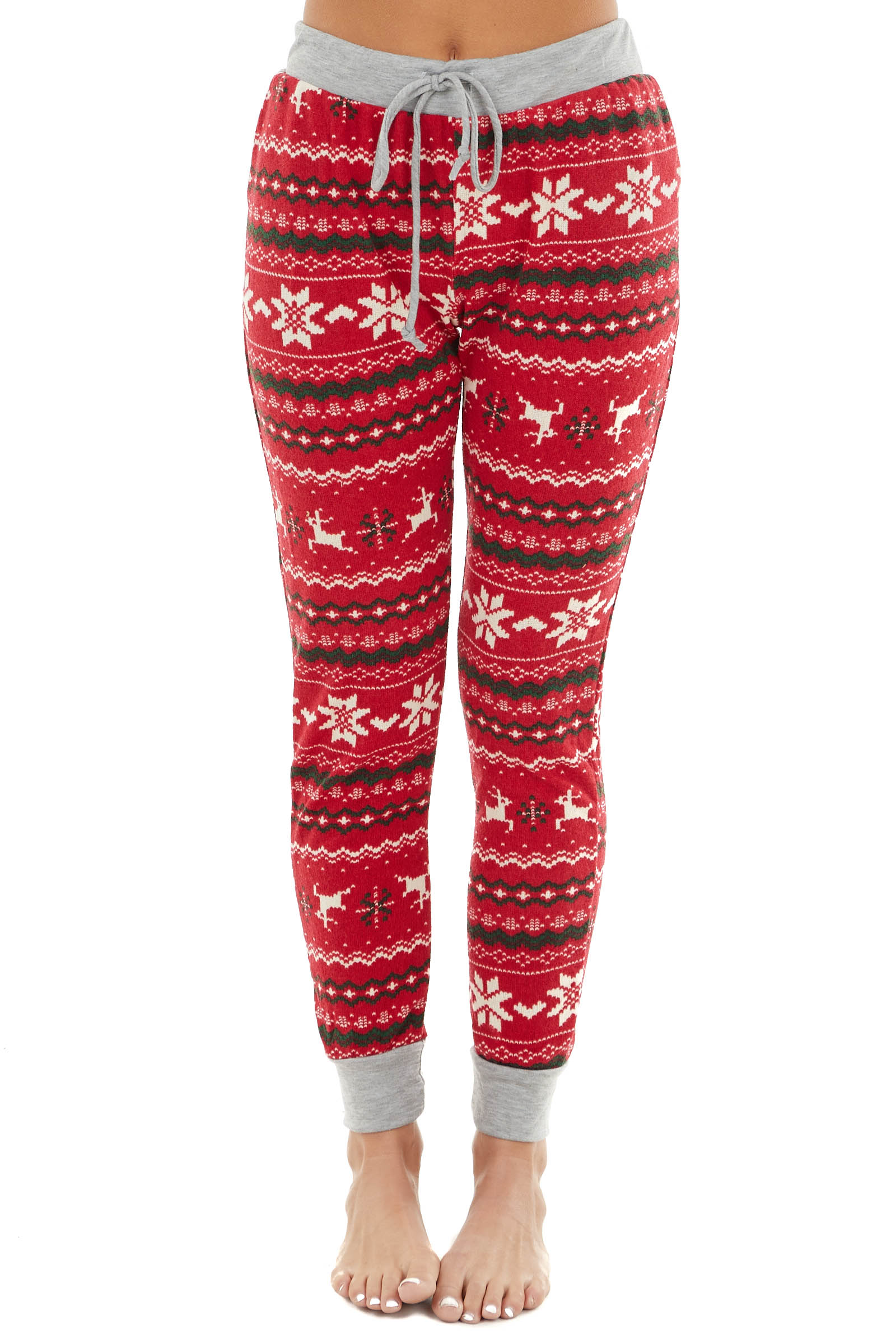 Candy Apple Red and Heather Grey Lightweight Holiday Joggers