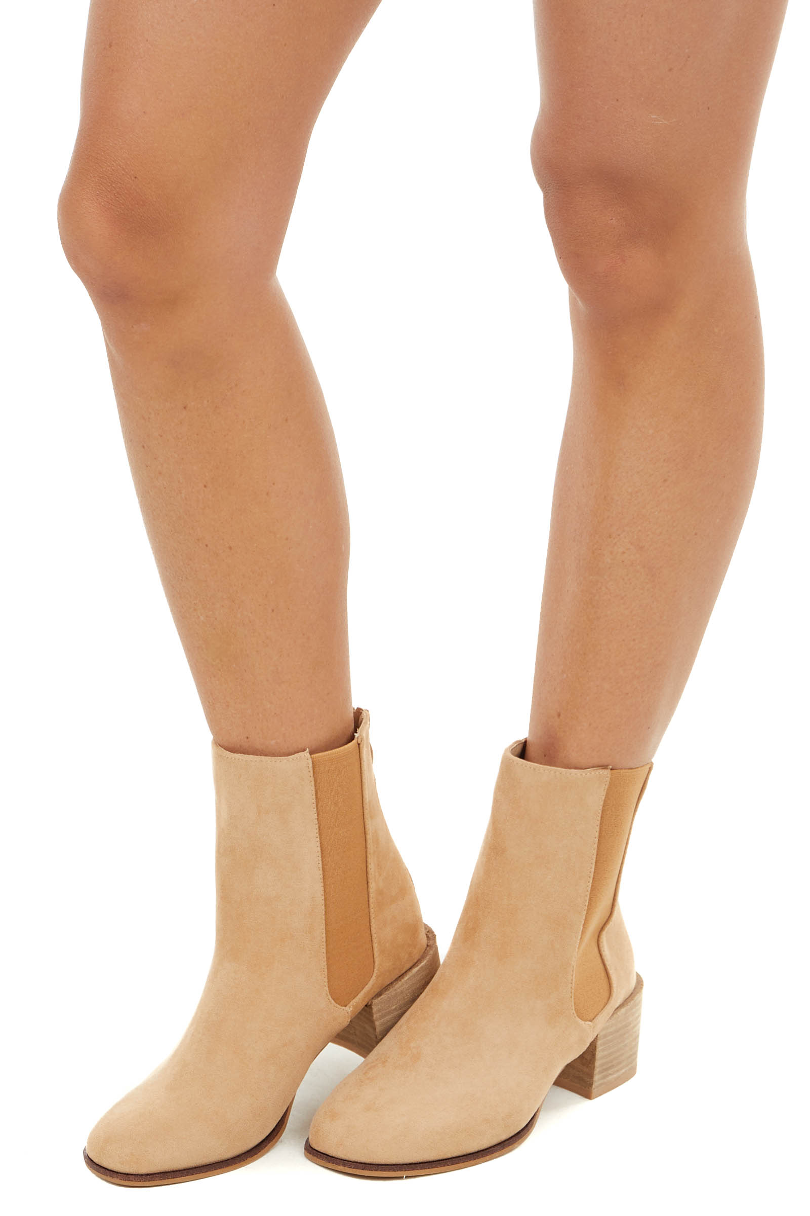 Beige High Top Bootie with Block Heel with Rounded Toe