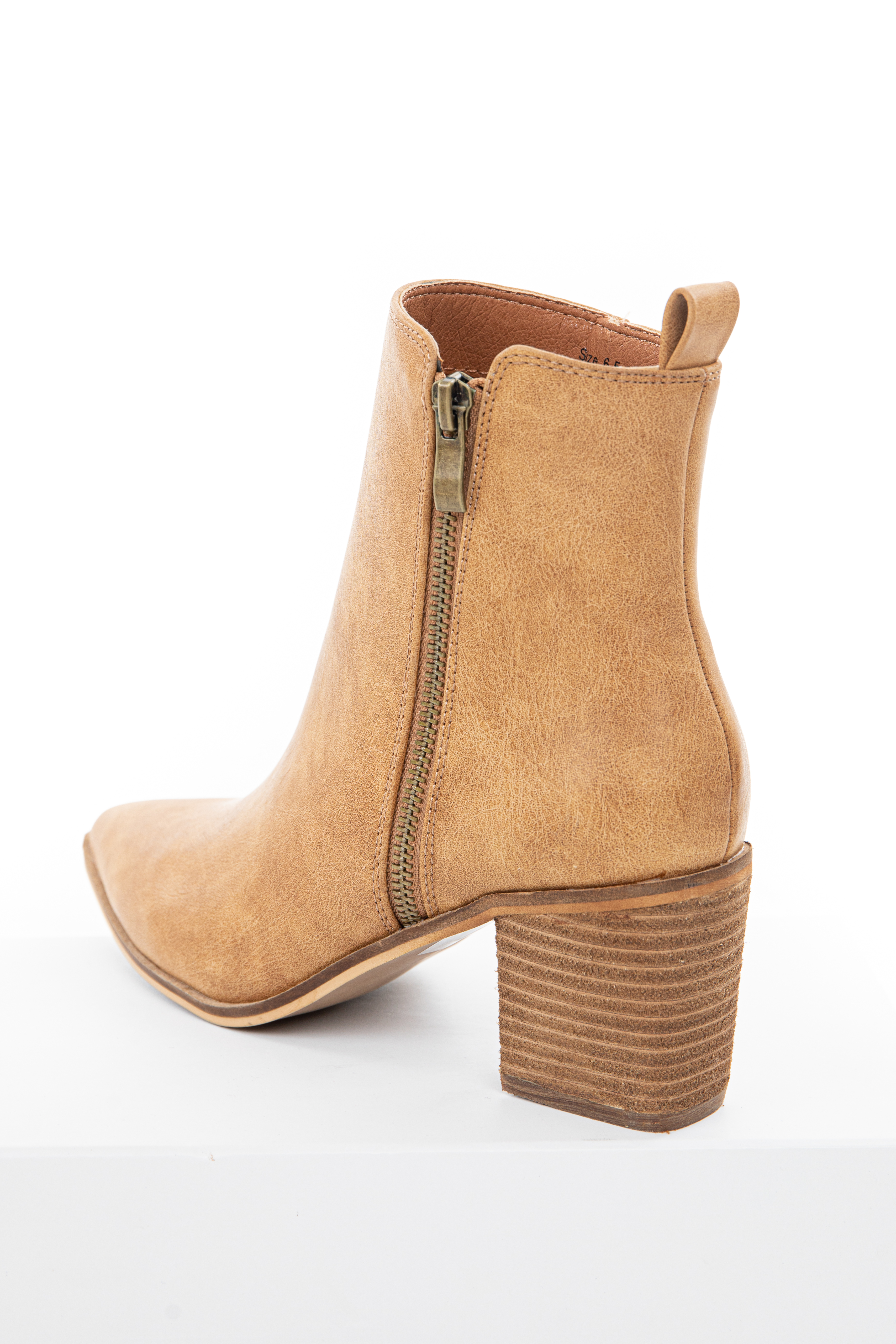 Camel High Top Booties with Block Heel and Pointed Toe