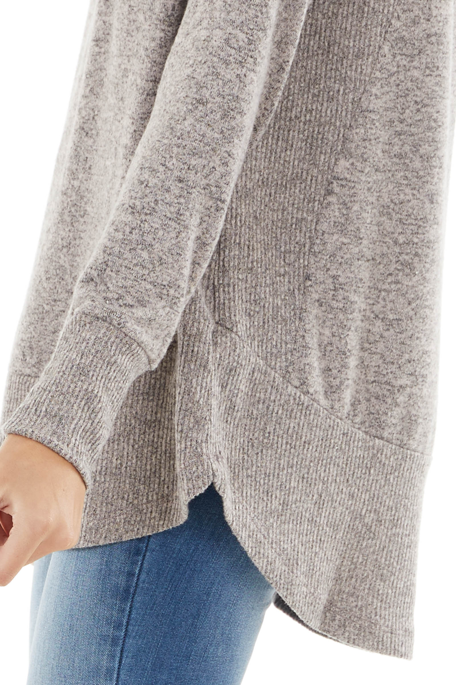 Dusty Rose Stretchy Knit Long Sleeve Top with Ribbed Details