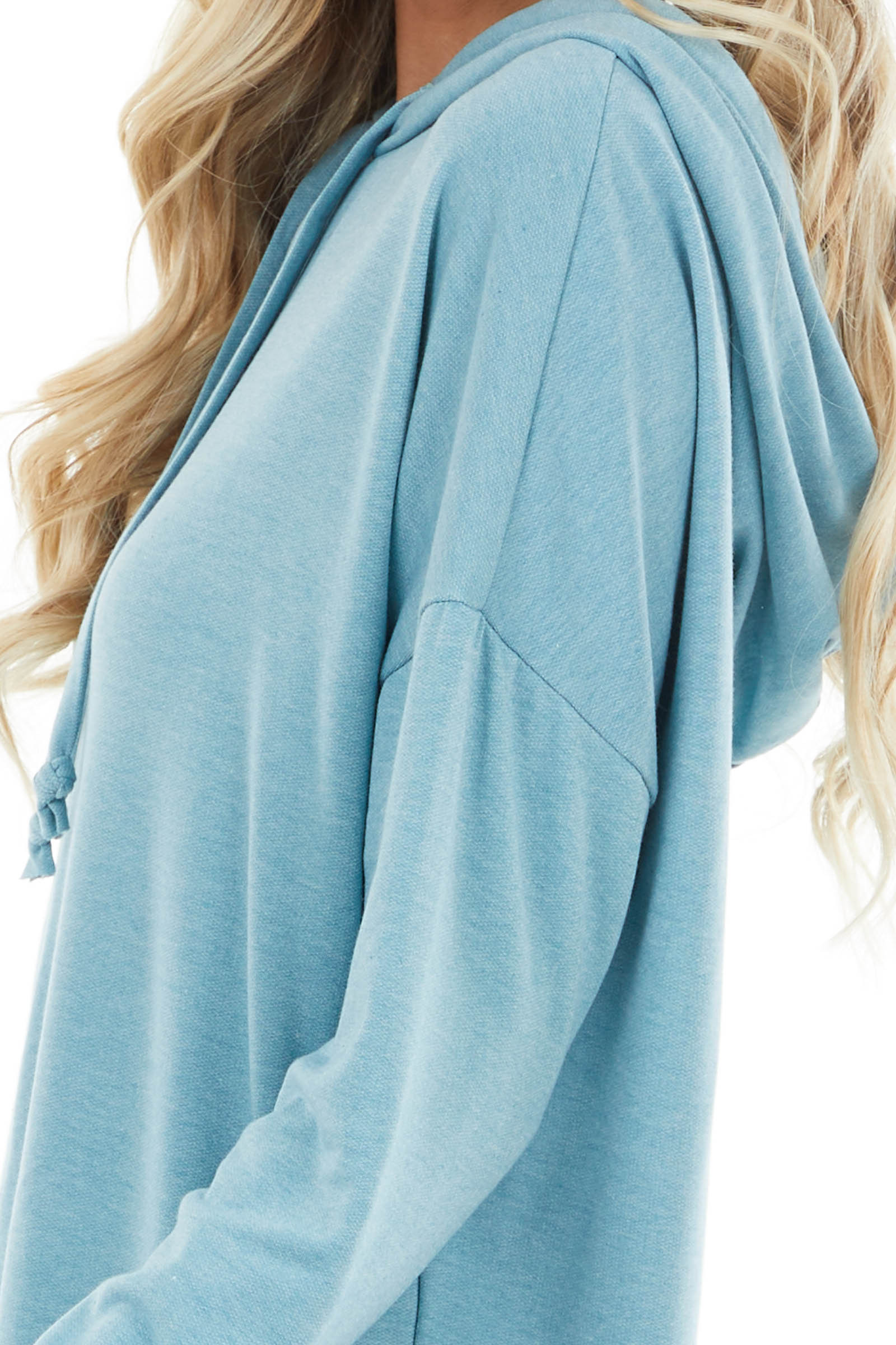 Sky Blue Lightweight Drawstring Hoodie with Soft Lining