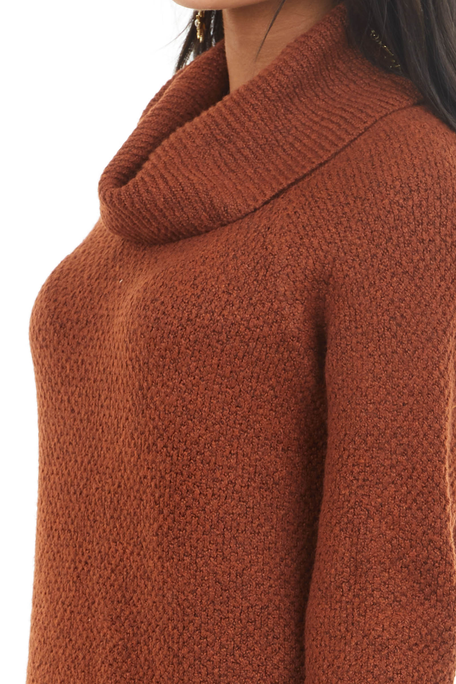 Dark Rust Cowl Neck Knit Sweater with Long Sleeves