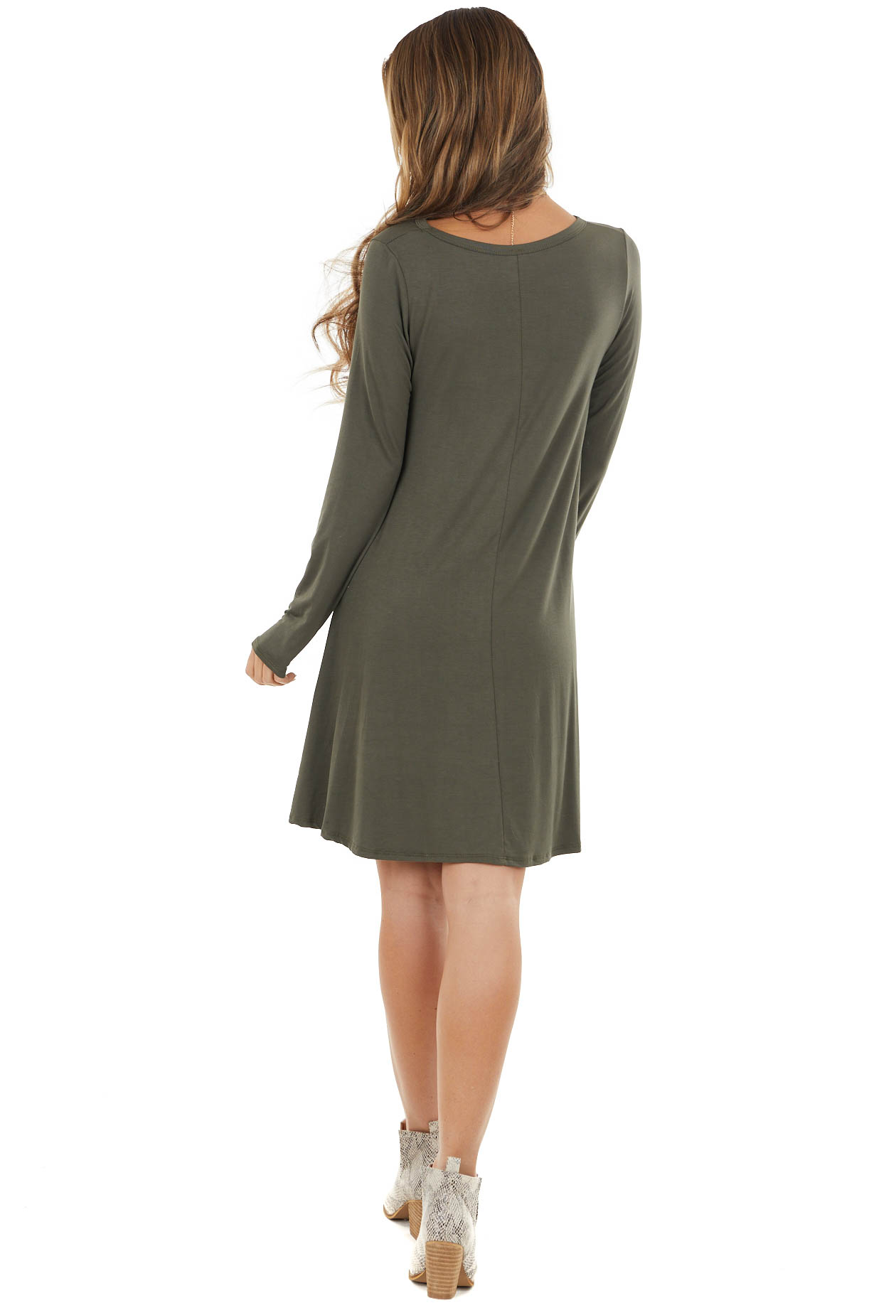 Olive Long Sleeve Mini Shift Dress with Side Pockets