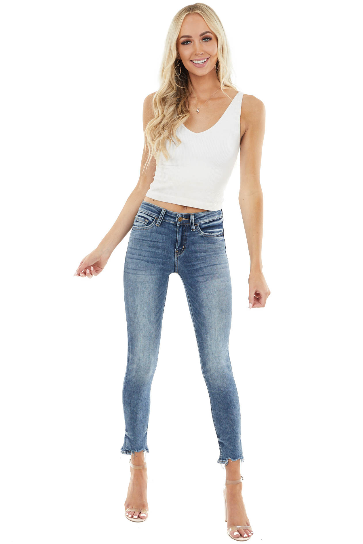 Medium High Rise Crop Skinny Jean with Distressed Ankles