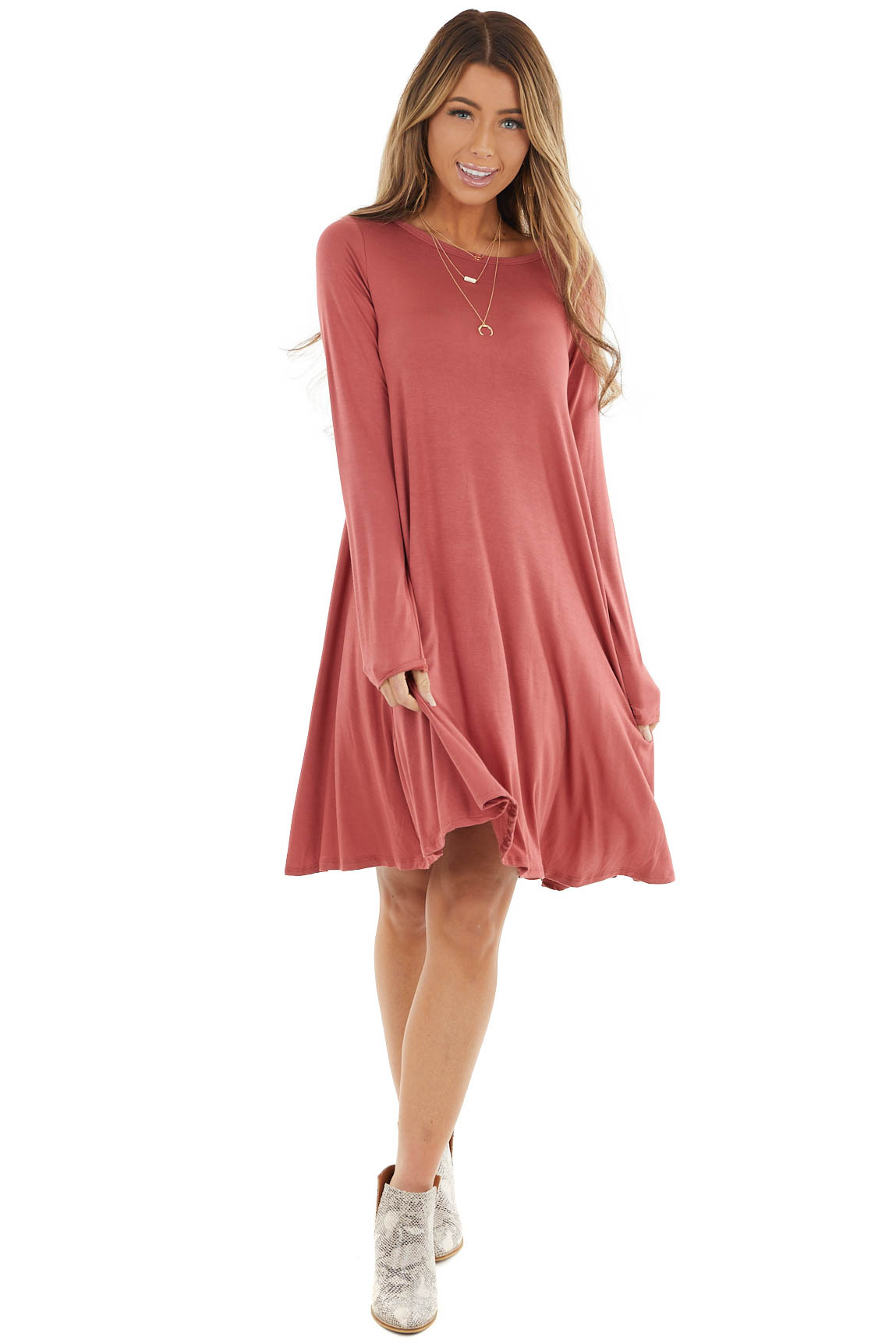 Bright Marsala Long Sleeve Mini Shift Dress with Pockets