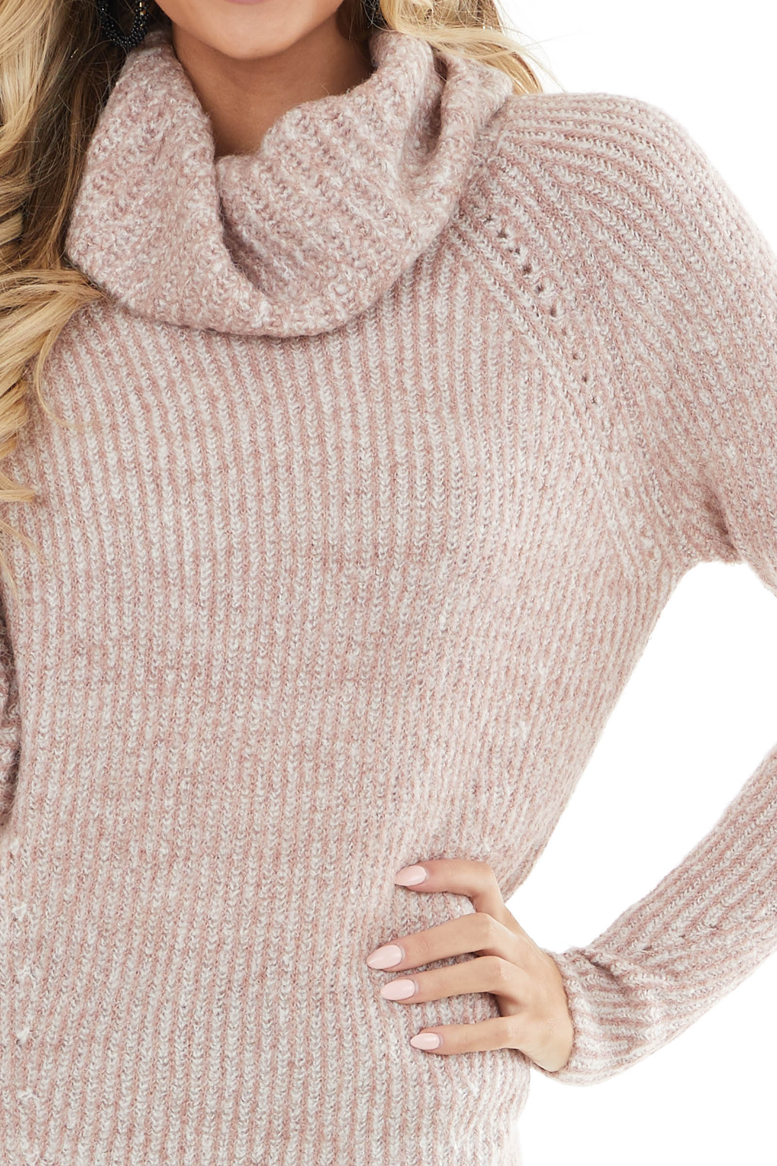 Dusty Rose and Ivory Striped Ribbed Knit Cowl Neck Sweater