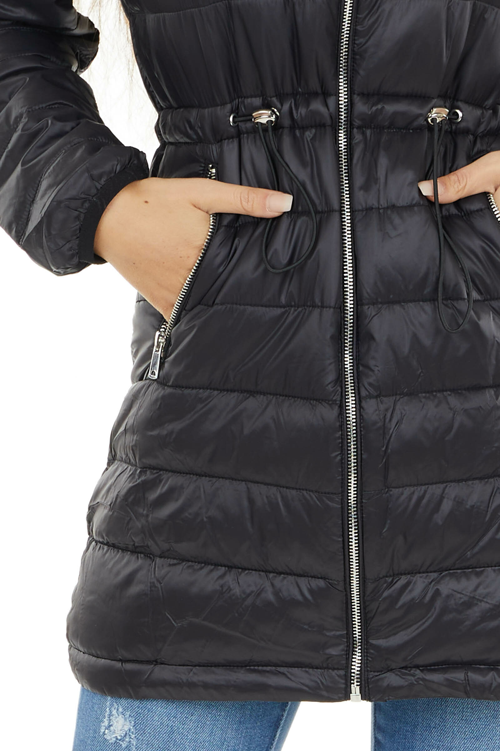 Black Zip Up Adjustable Puffer Coat with Removable Hood