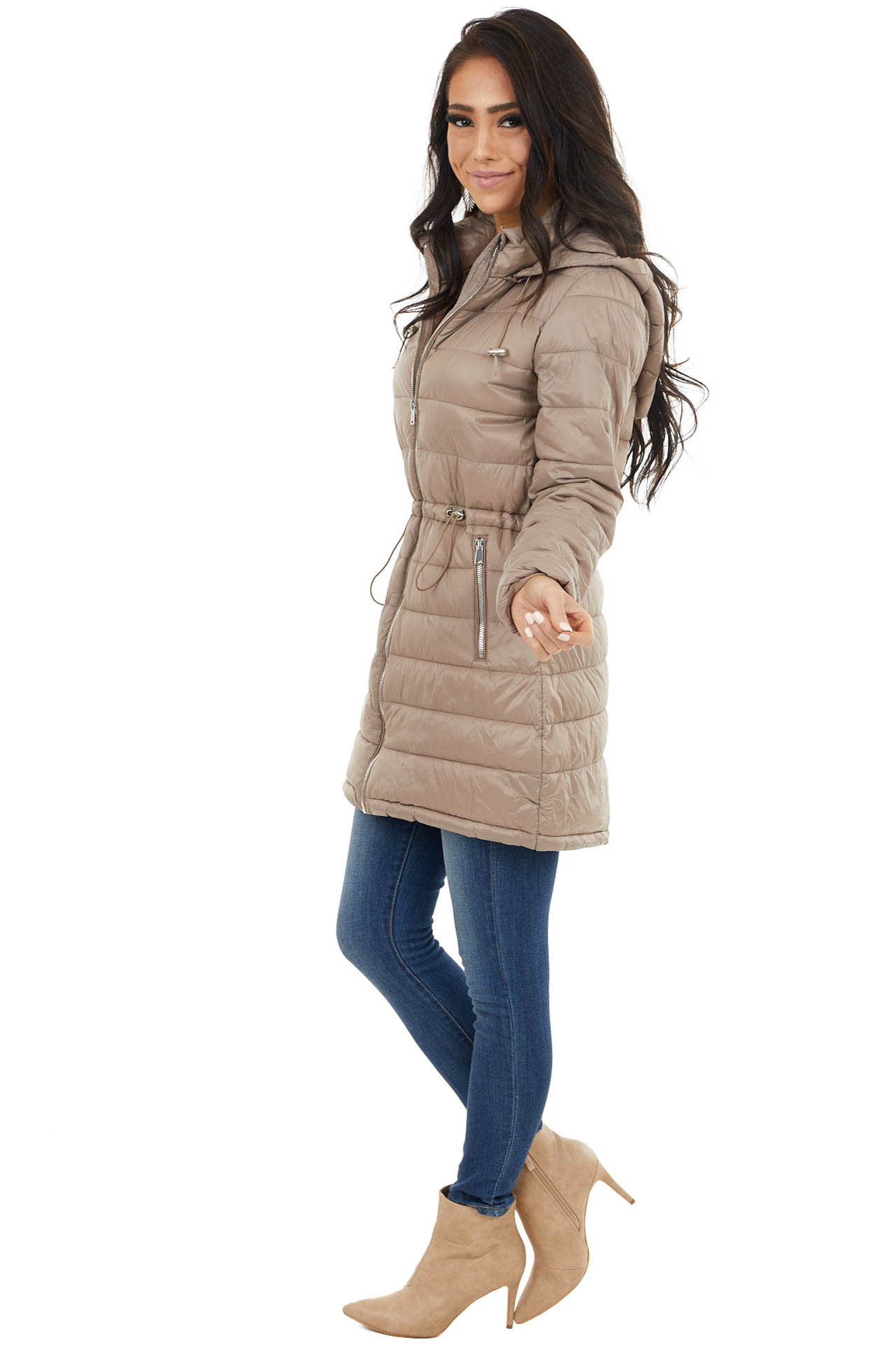 Latte Zip Up Adjustable Puffer Coat with Removable Hood