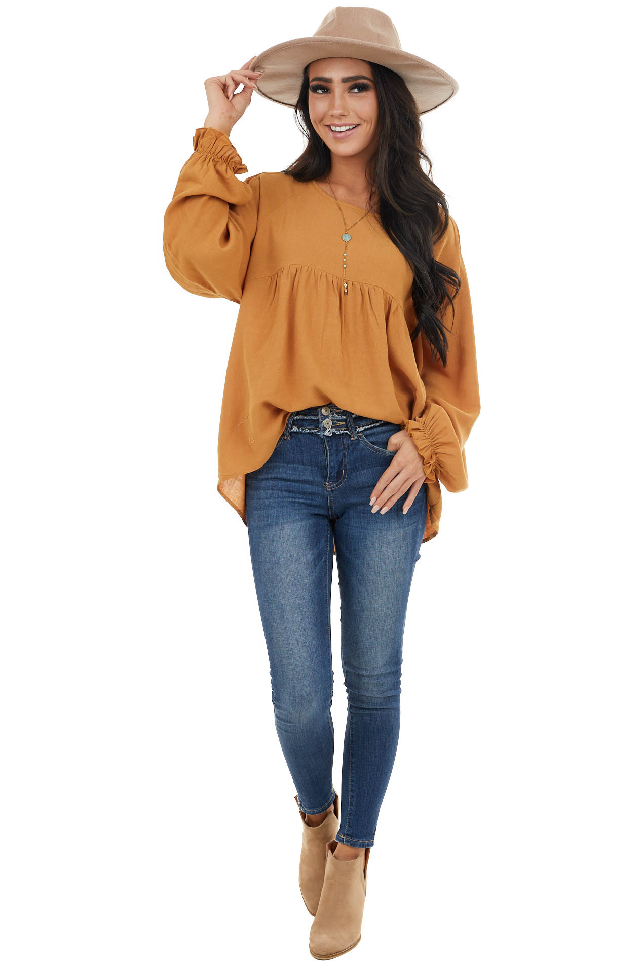 Caramel Long Bubble Sleeve Babydoll Top with Shoulder Detail