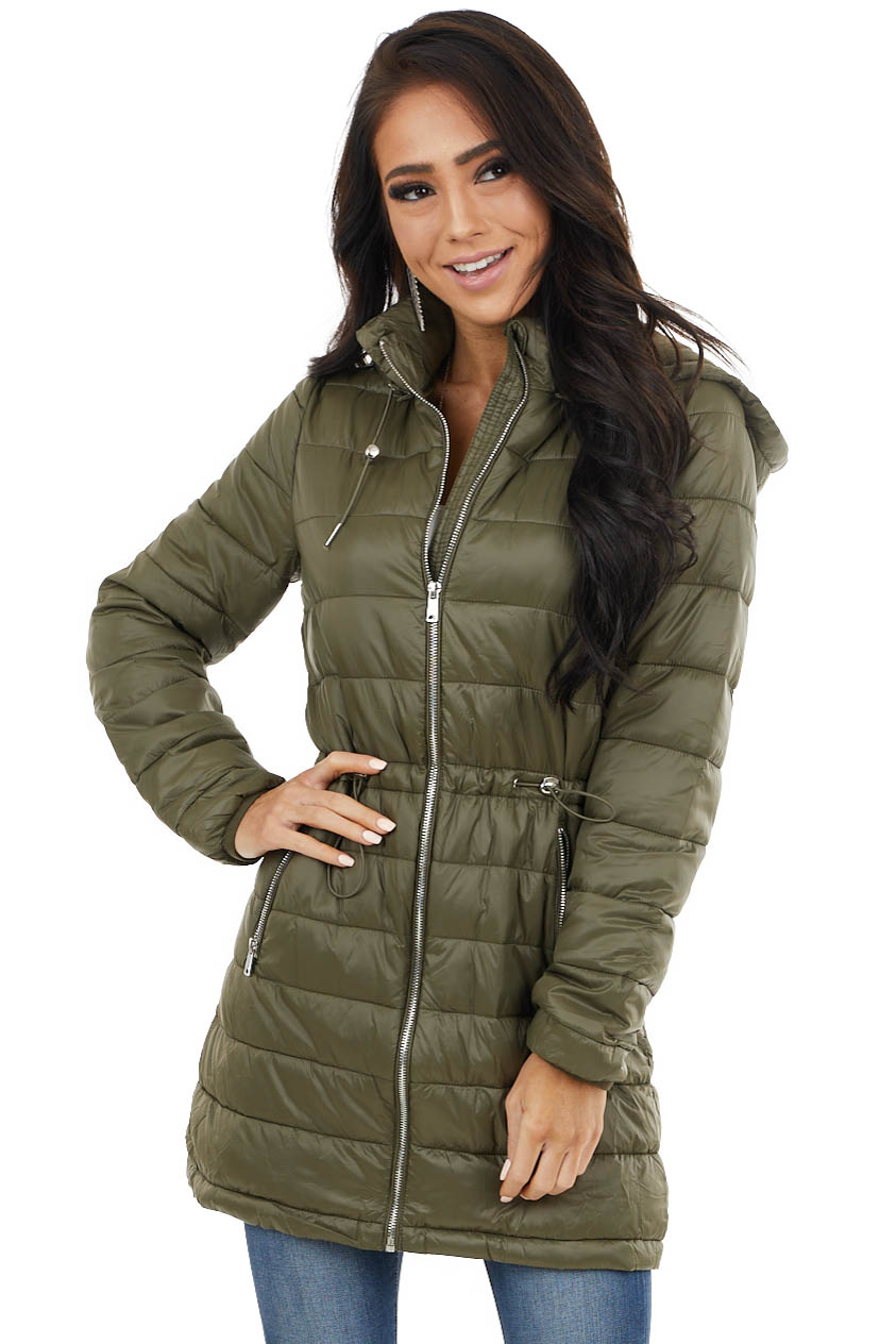 Olive Zip Up Adjustable Puffer Coat with Removable Hood