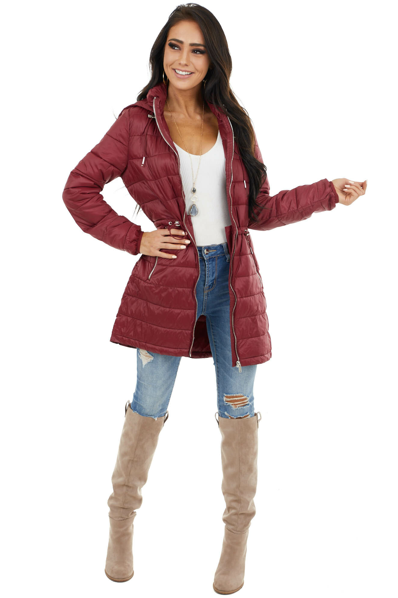Wine Zip Up Adjustable Puffer Coat with Removable Hood