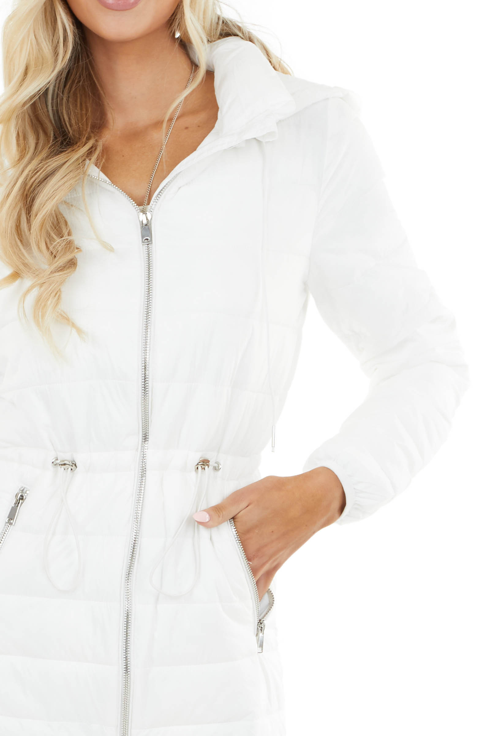 Off White Zip Up Adjustable Puffer Coat with Removable Hood