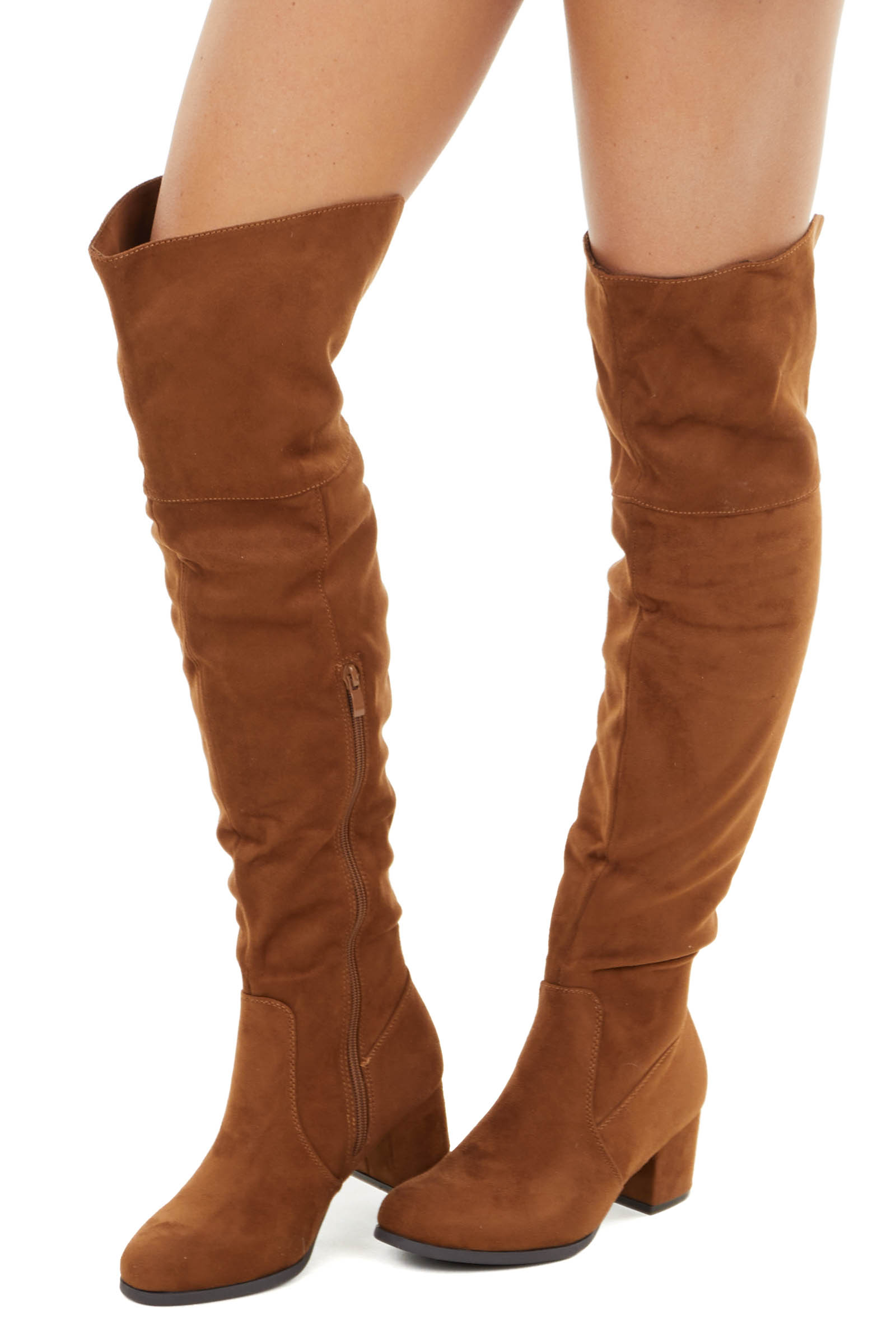 Cognac Faux Suede Tall Fold Over Boot with Side Zipper