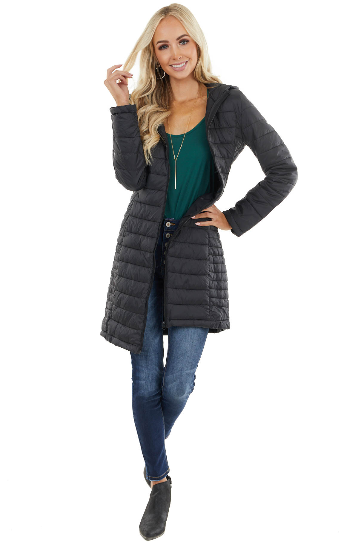 Black Lightweight Puffer Coat with Hood and Zip Up Closure