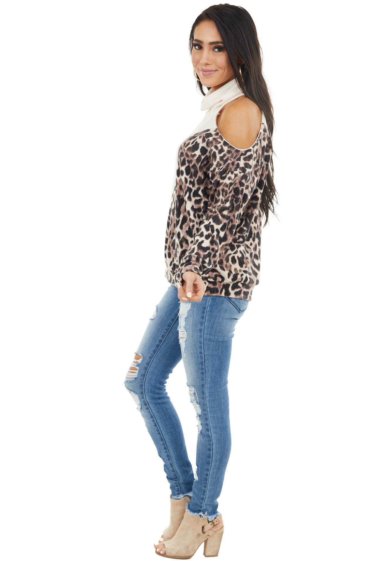 Cream and Leopard Print Top with One Cold Shoulder
