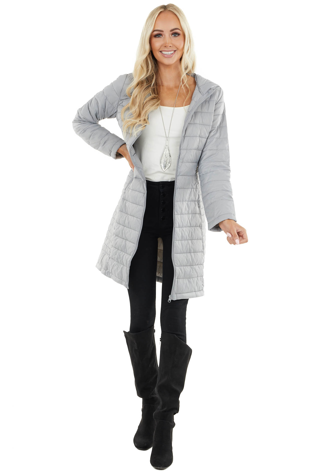 Dove Grey Lightweight Puffer Coat with Hood and Zip Up Front