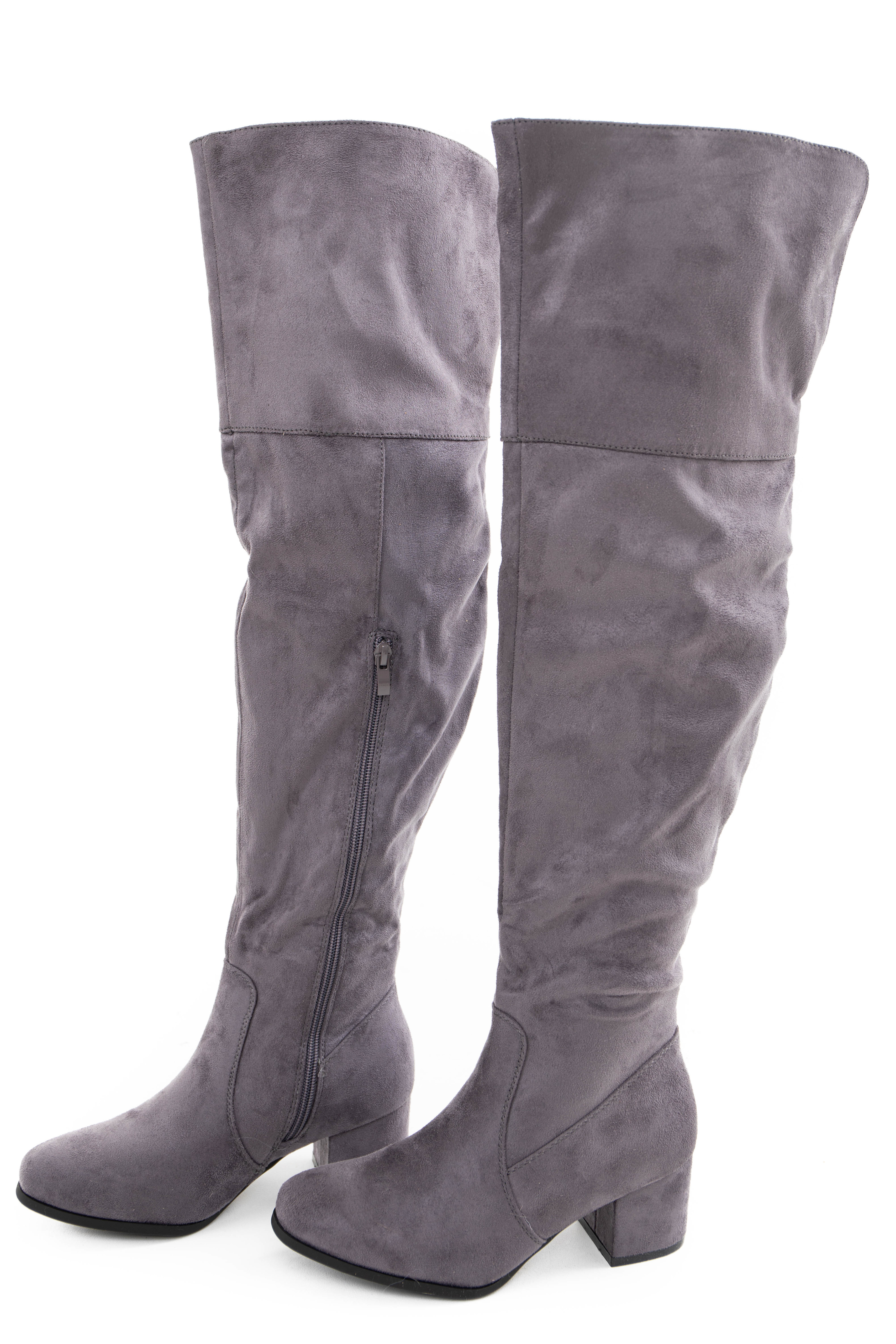 Charcoal Faux Suede Tall Fold Over Boot with Side Zipper