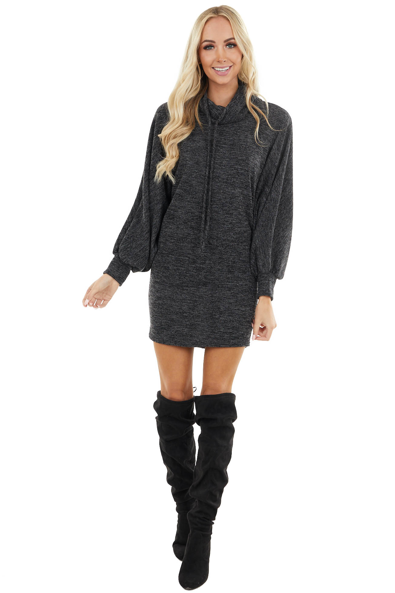 Black Two Tone Long Dolman Sleeve Dress with Cowl Neckline