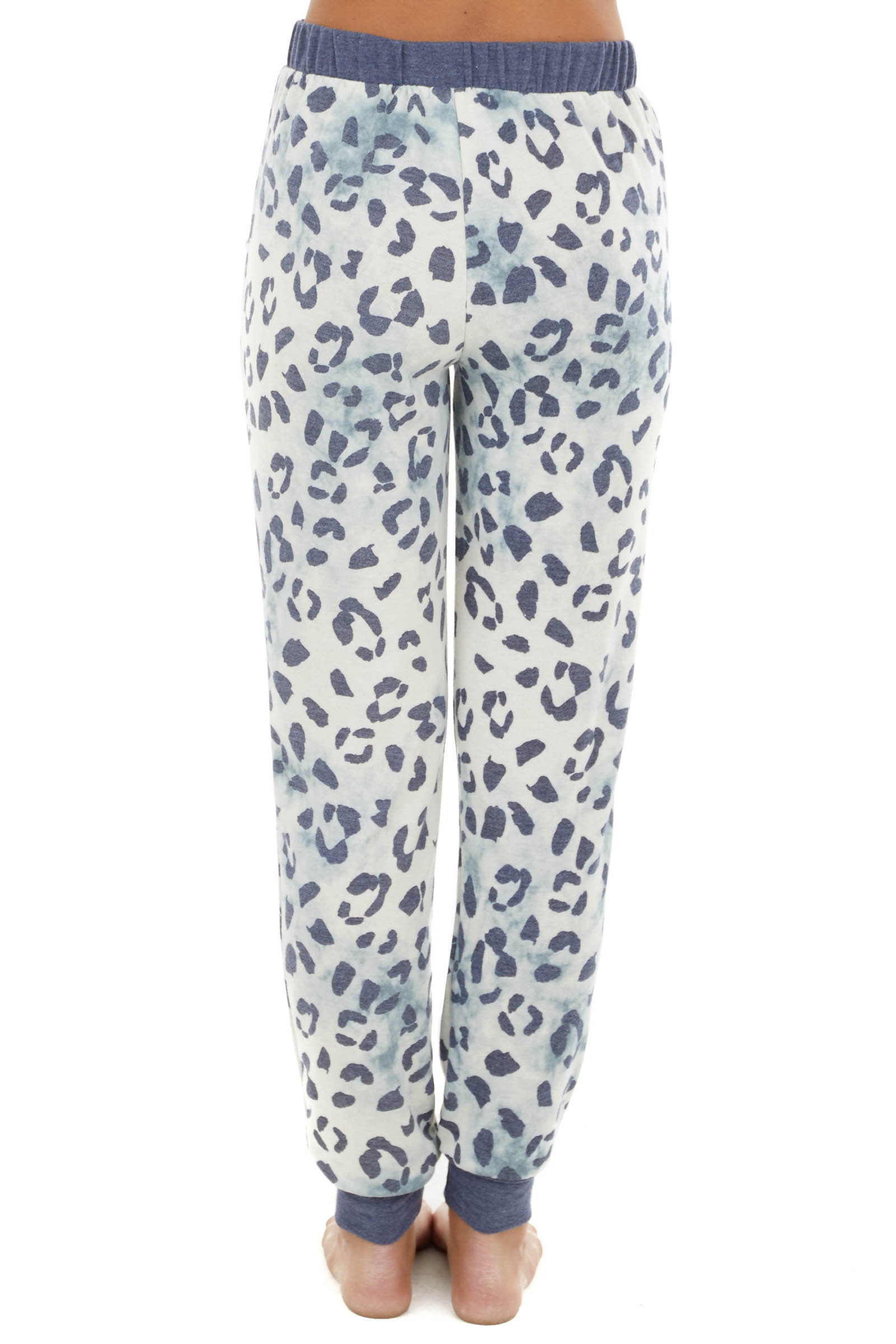 Cream and Blue Tie Dye Joggers with Leopard Print