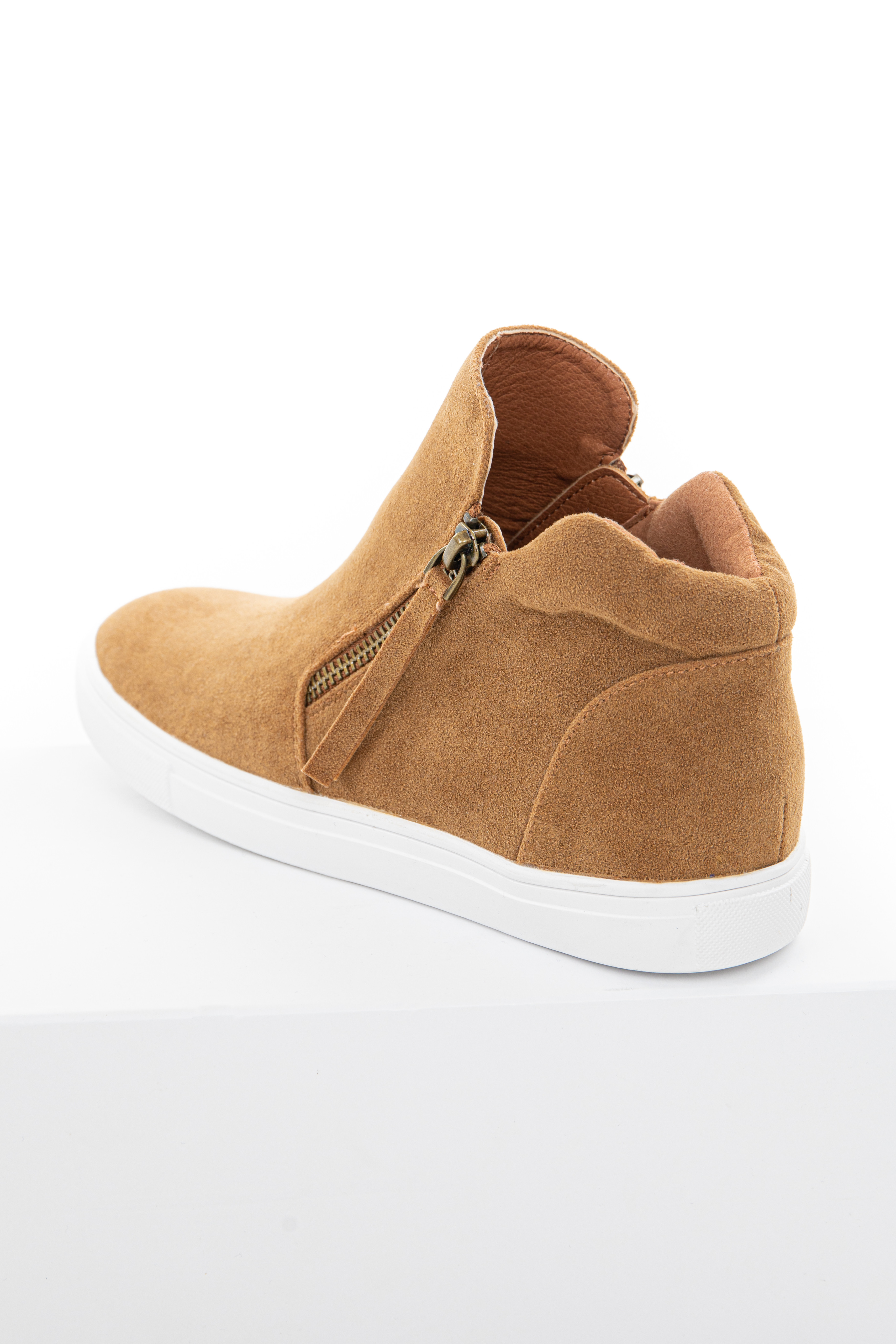 Camel Faux Suede Sneaker with Zip Up Detail