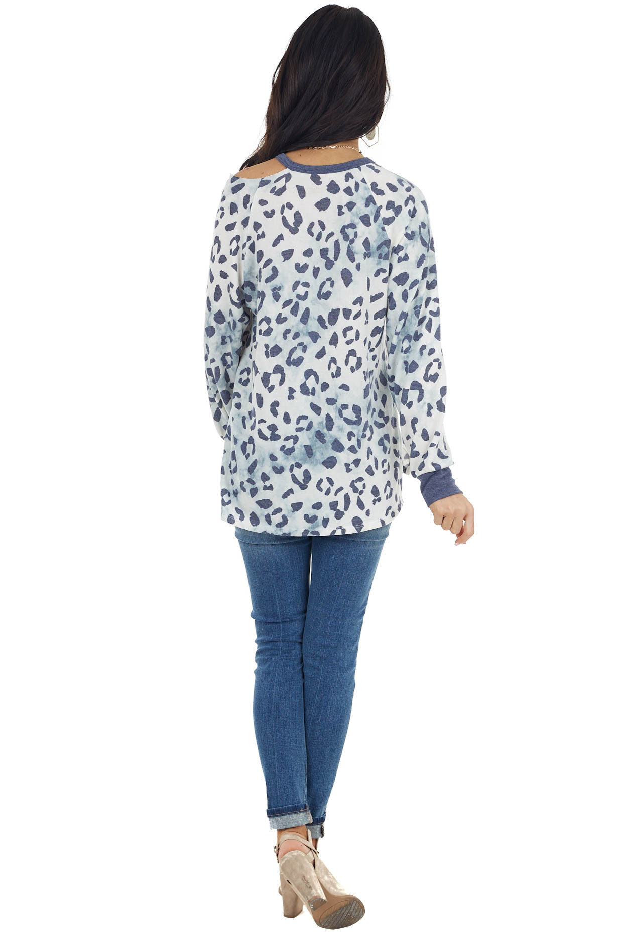Cream and Blue Tie Dye Leopard Print One Cold Shoulder Top