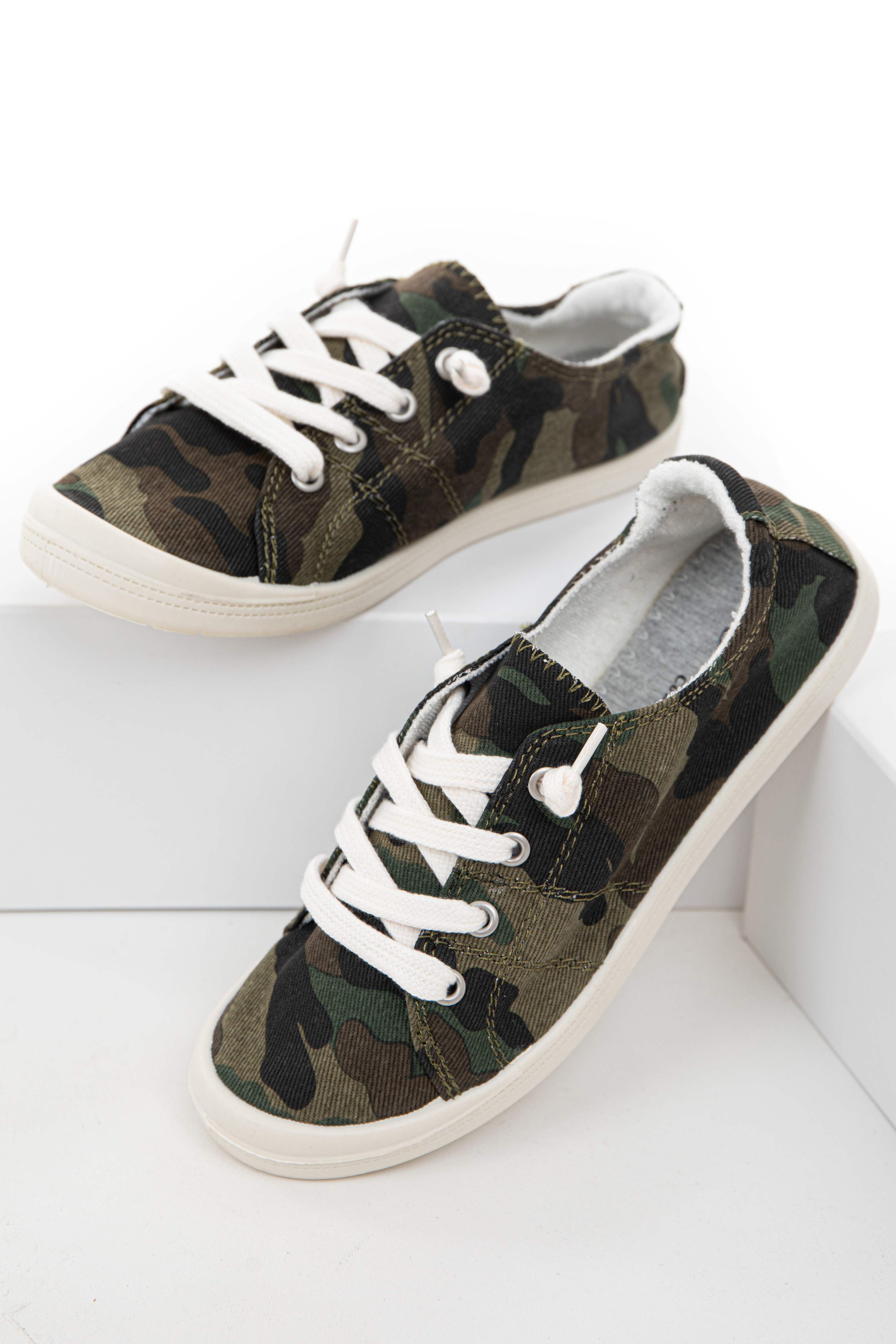 Forest Green Camo Slip On Sneakers with White Shoelaces