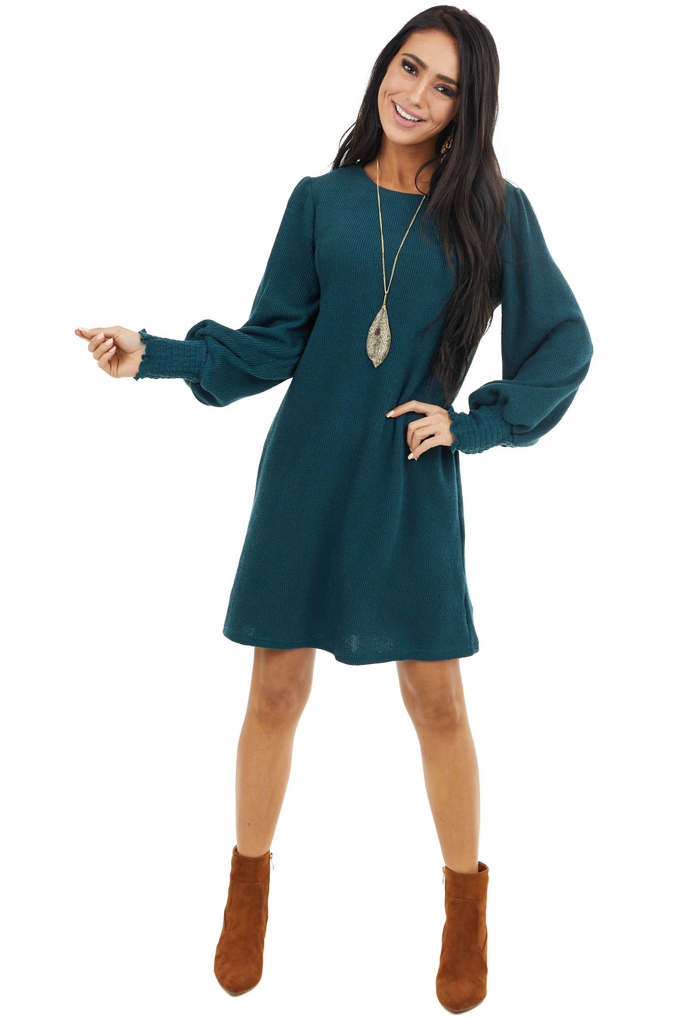 Pine Ribbed Knit Dress with Smocked Cuffs and Keyhole Back