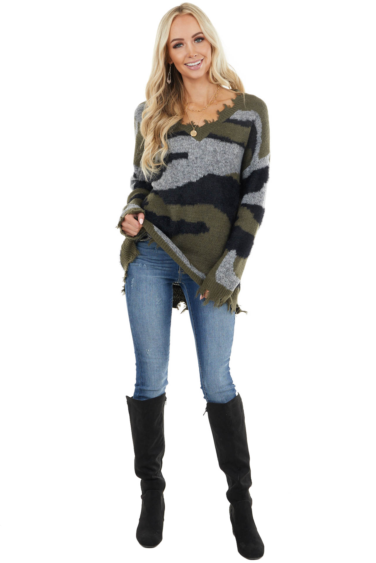 Hunter Green Camo Long Sleeve Sweater with Distressed Detail